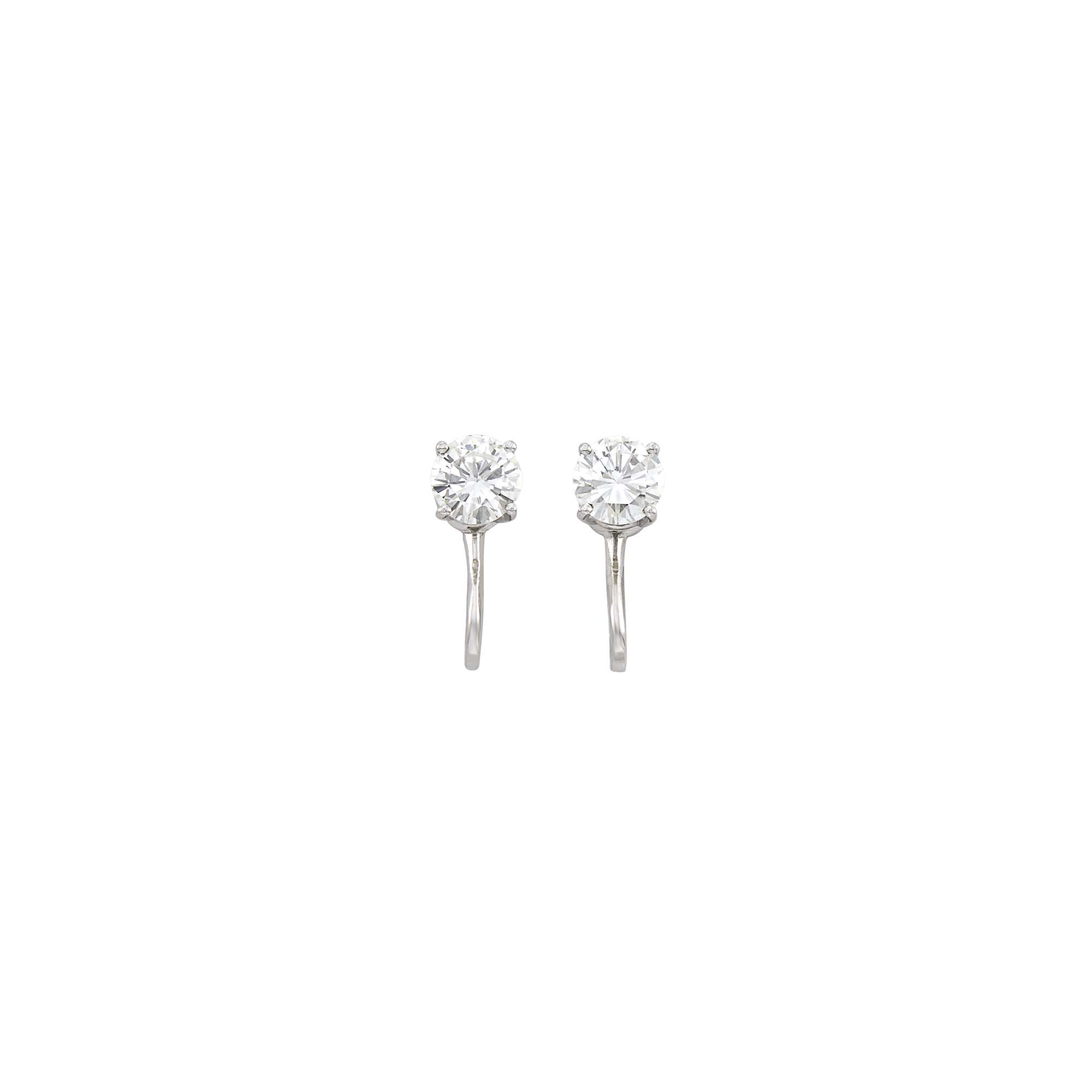 Lot image - Pair of White Gold and Diamond Stud Earclips