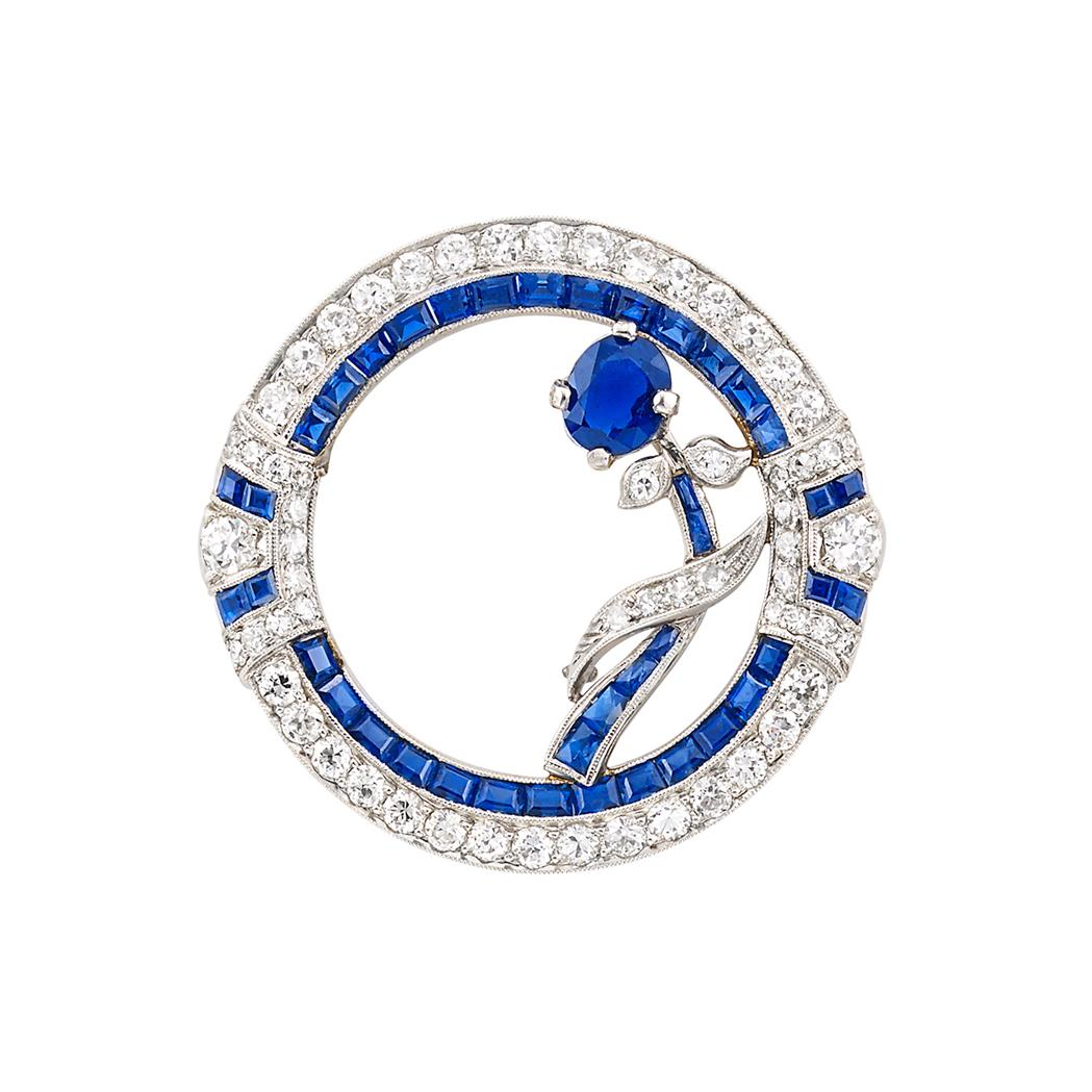 Platinum Sapphire And Diamond Circle Pin Bailey Banks Biddle Doyle Auction House