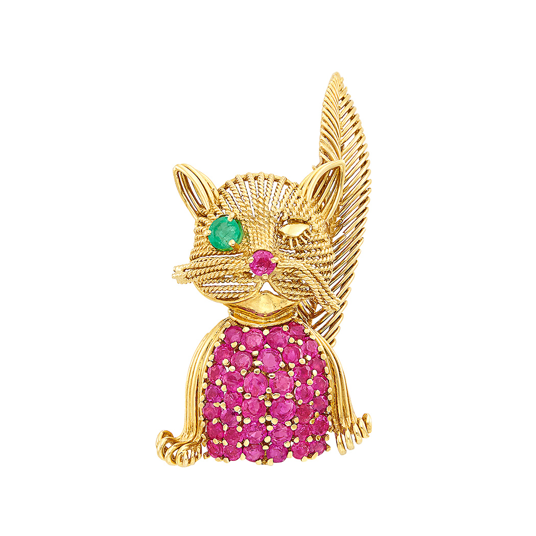Lot image - Gold, Ruby and Emerald Winking Cat Brooch