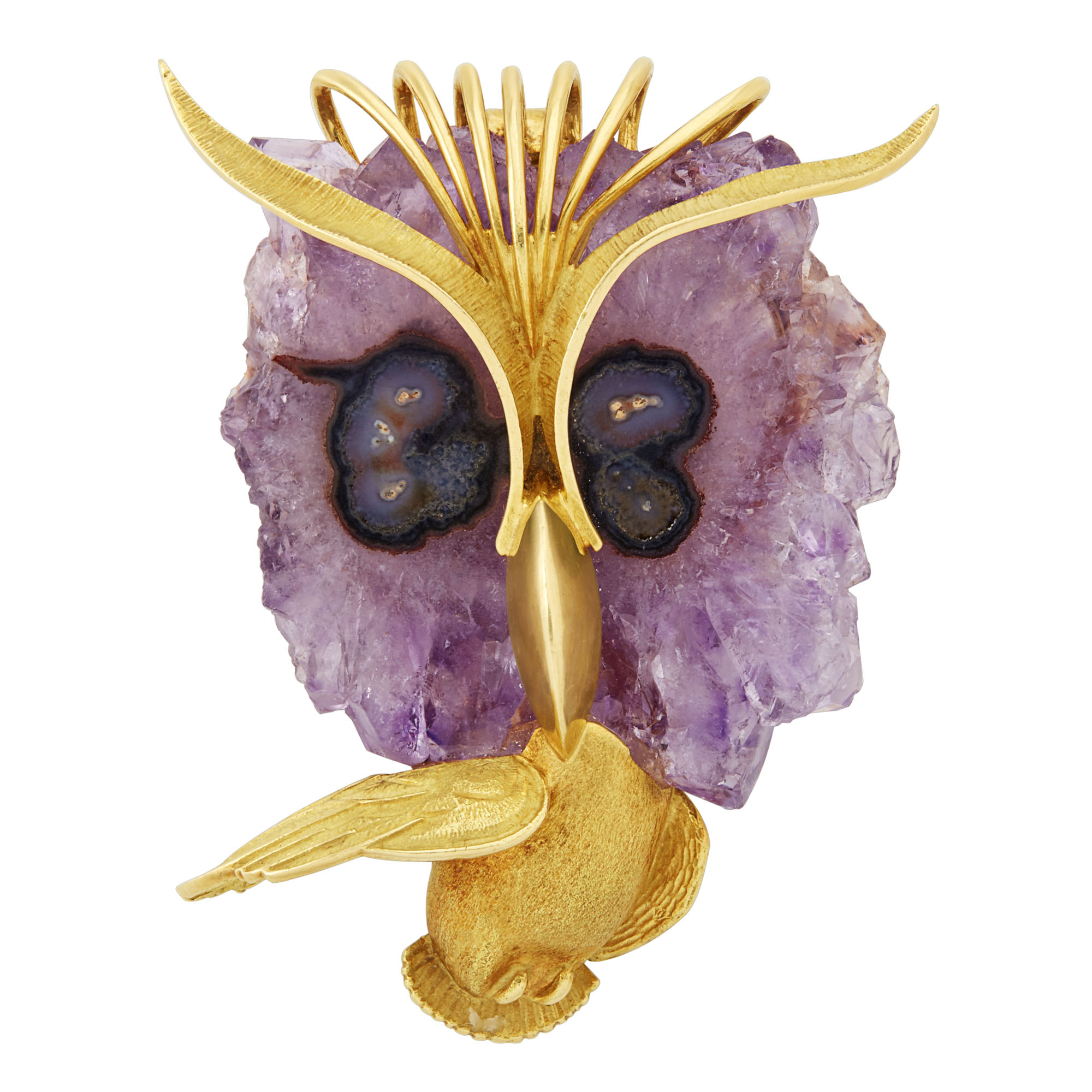 Lot image - Gold and Amethyst Owl Brooch-Pendant, French
