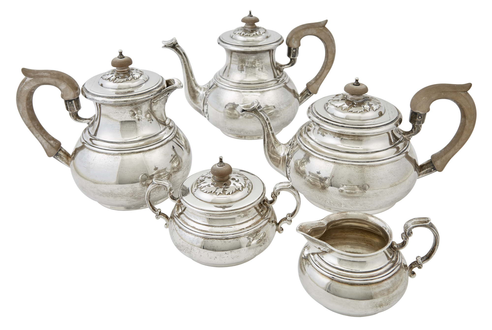 Lot image - English Sterling Silver Five Piece Tea and Coffee Service