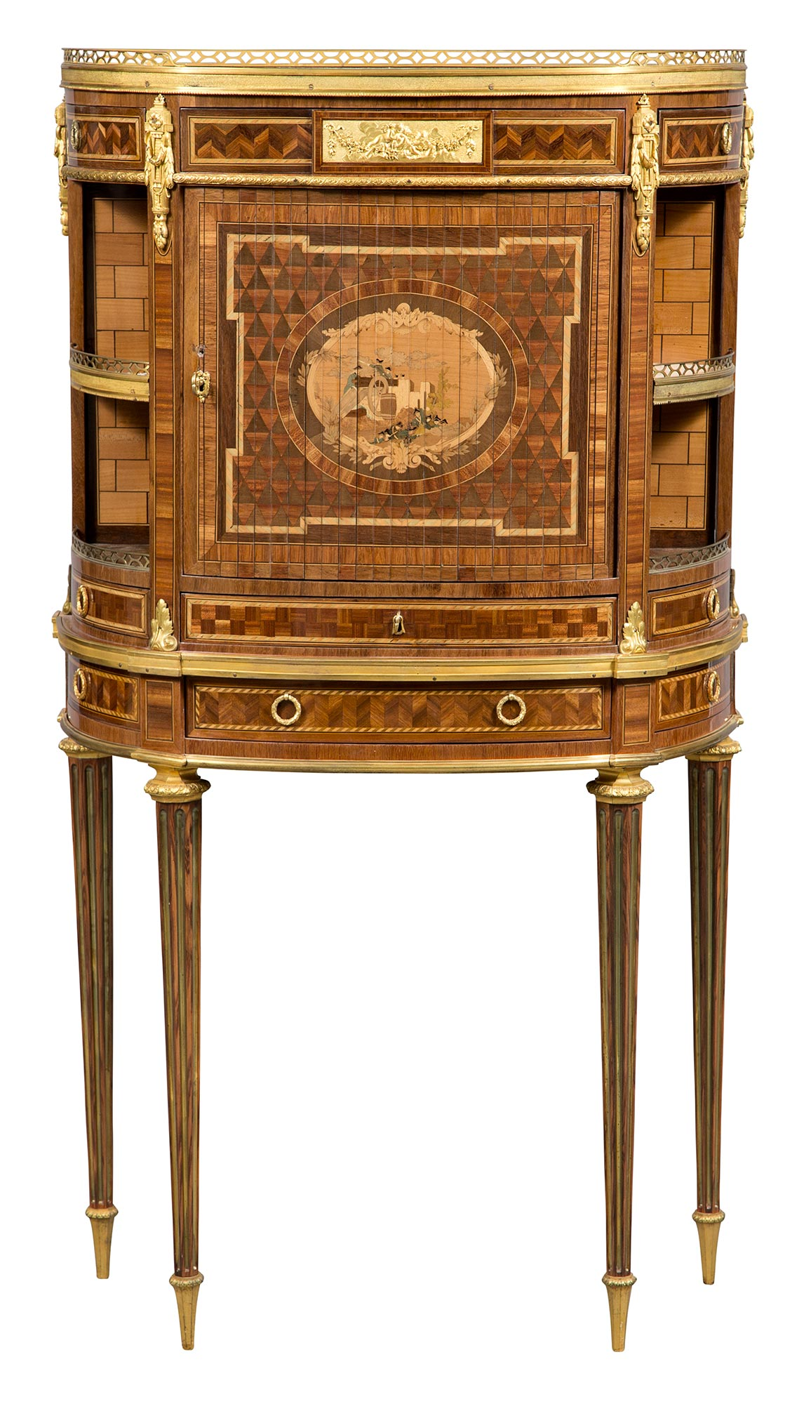 Lot image - Louis XVI Ormolu-Mounted Bois Satiné, Amaranth, Fruitwood Parquetry and Marquetry Secrétaire stamped E Lavesseur