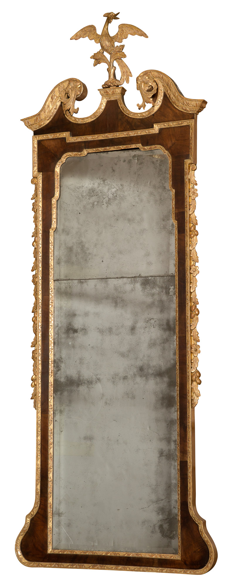 Lot image - George II Walnut and Parcel-Gilt Pier Mirror