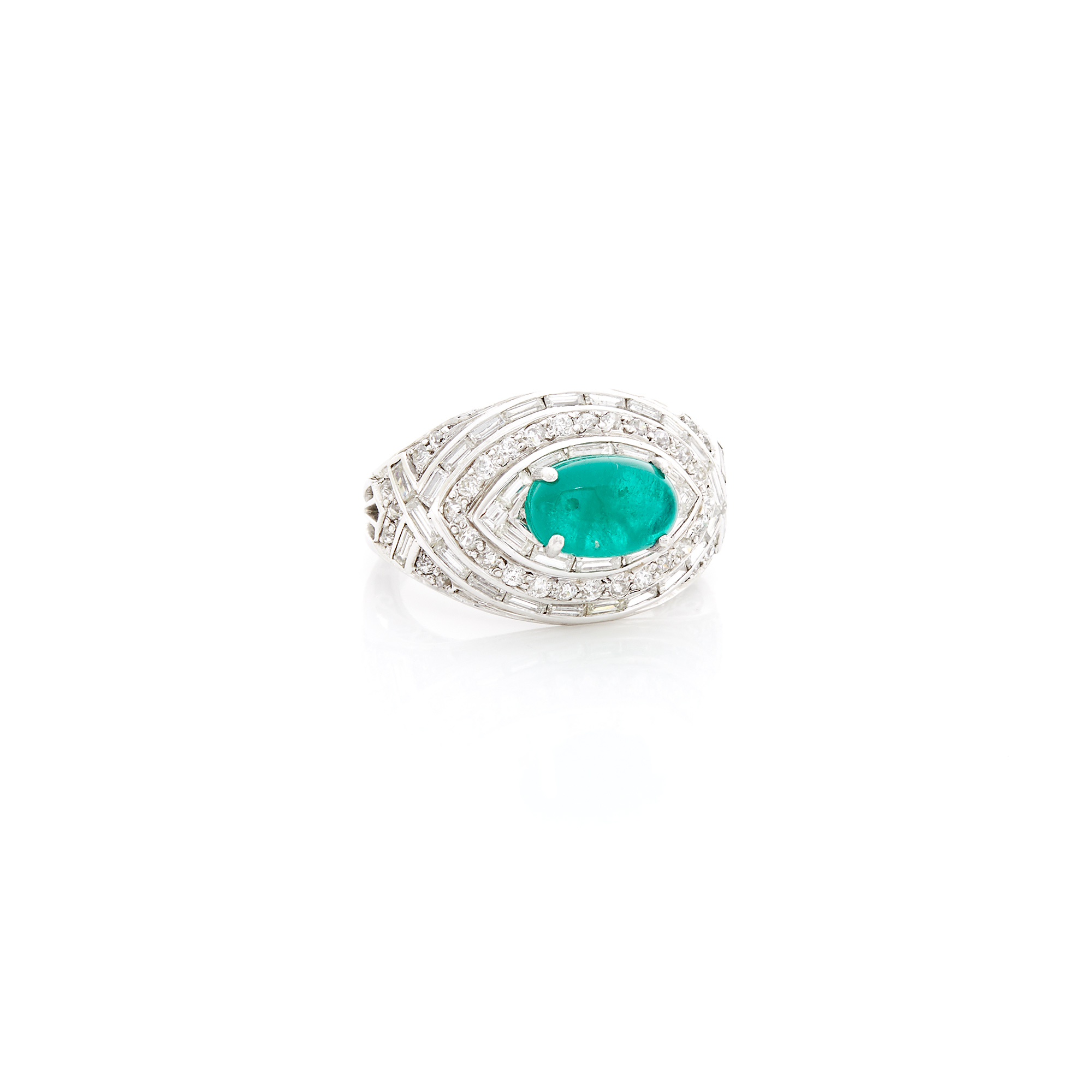 Lot image - White Gold, Cabochon Emerald and Diamond Ring