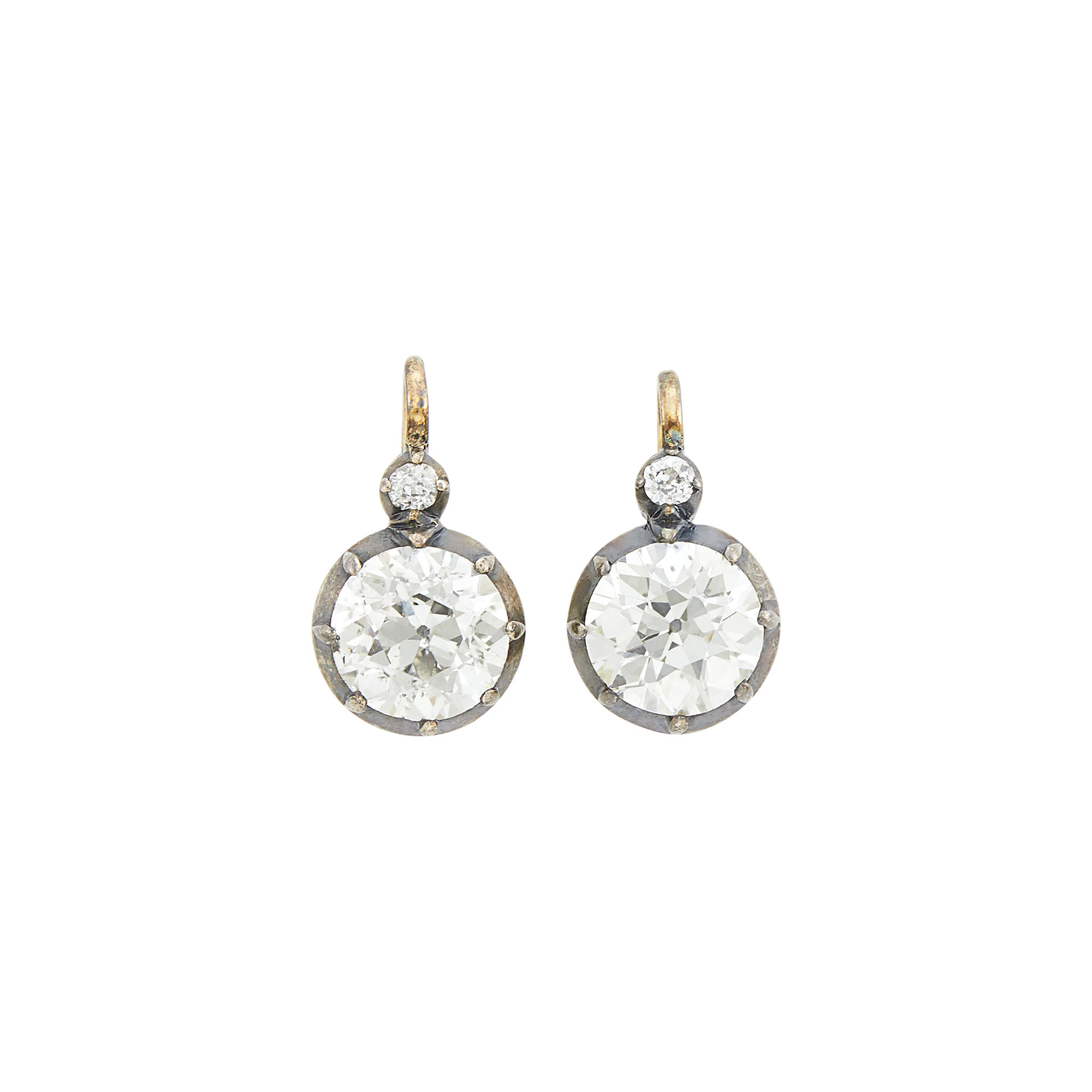 Lot image - Pair of Antique Gold, Silver and Diamond Earrings