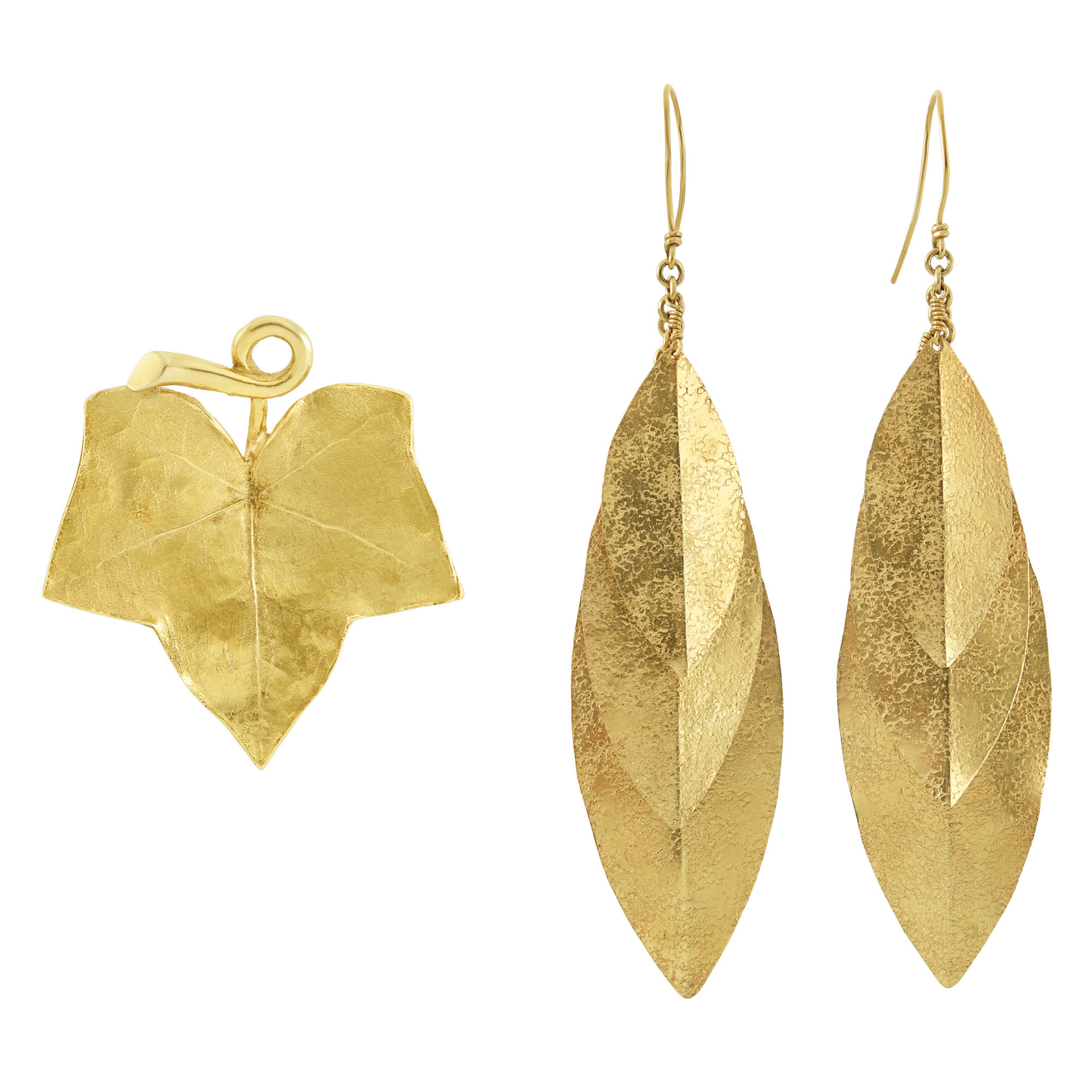 Lot image - Pair of Gold Leaf Earrings and Brooch