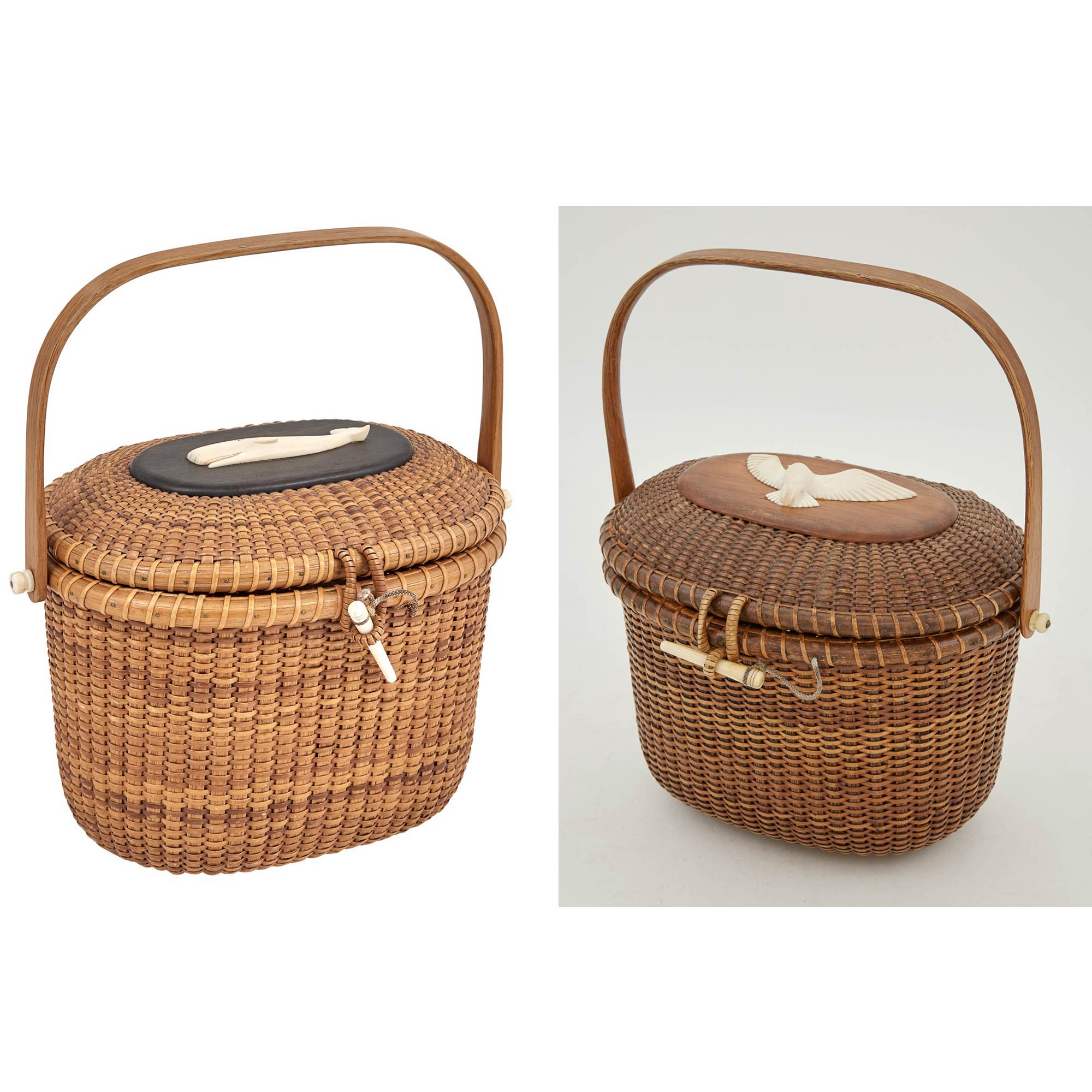 Lot image - Two Stanley M. Roop Lidded Lightship Basket Purses