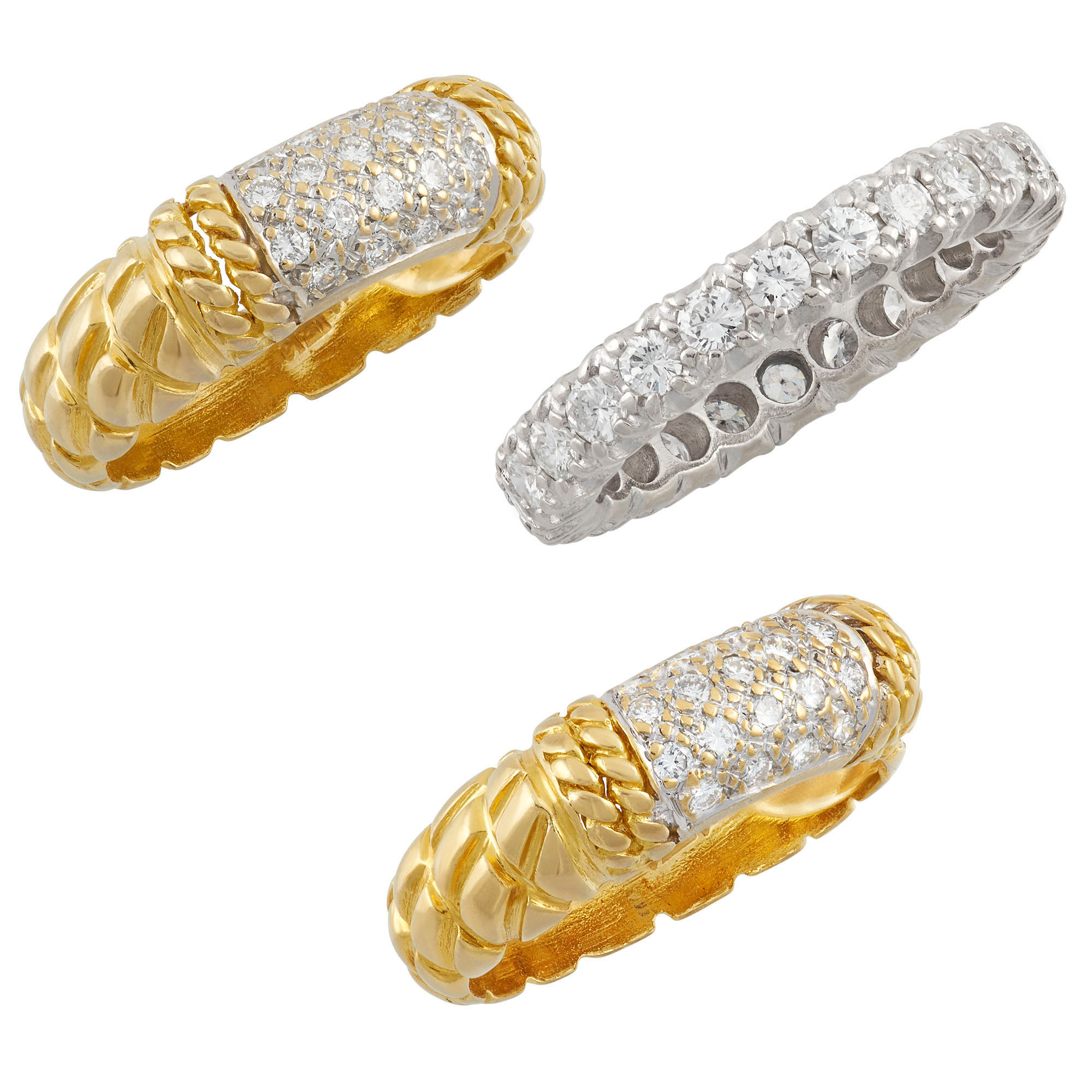 Lot image - Pair of Two-Color Gold and Diamond Band Rings and Platinum and Diamond Band Ring