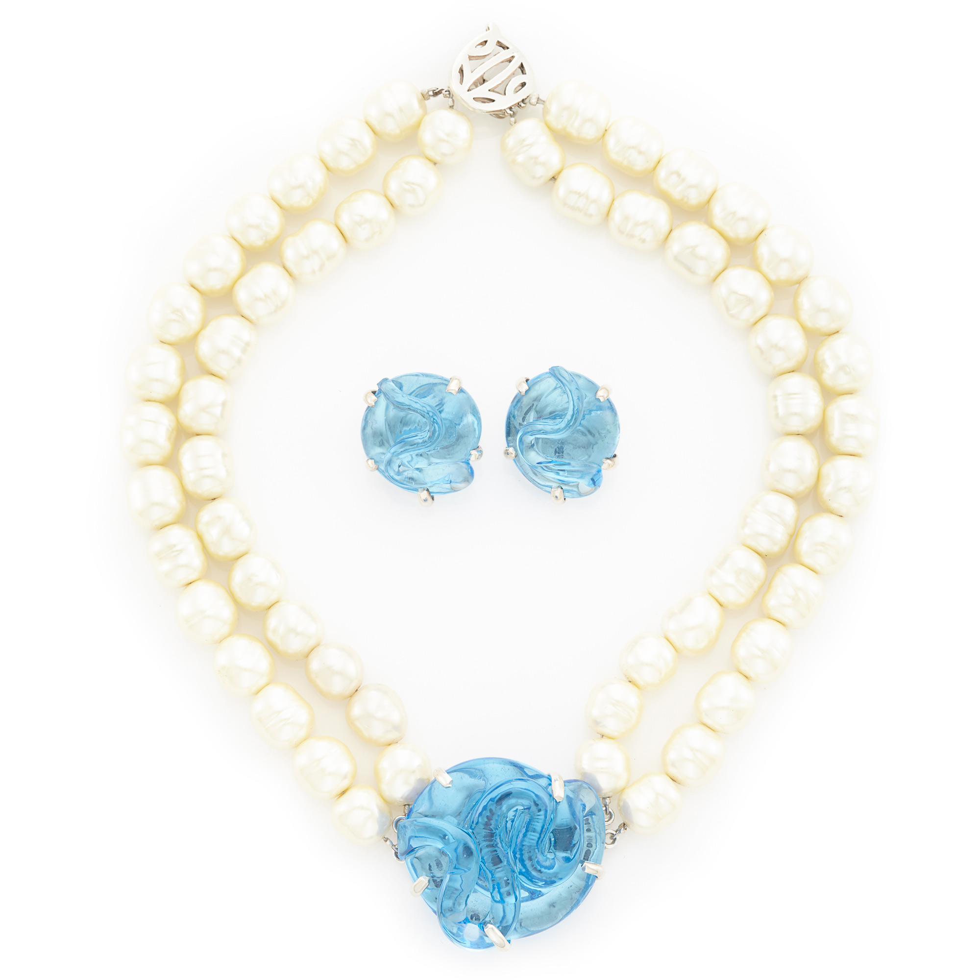 Lot image - Double Strand Imitation Pearl Necklace with Sterling Silver and Carved Blue Glass Clasp and Pair of Earclips
