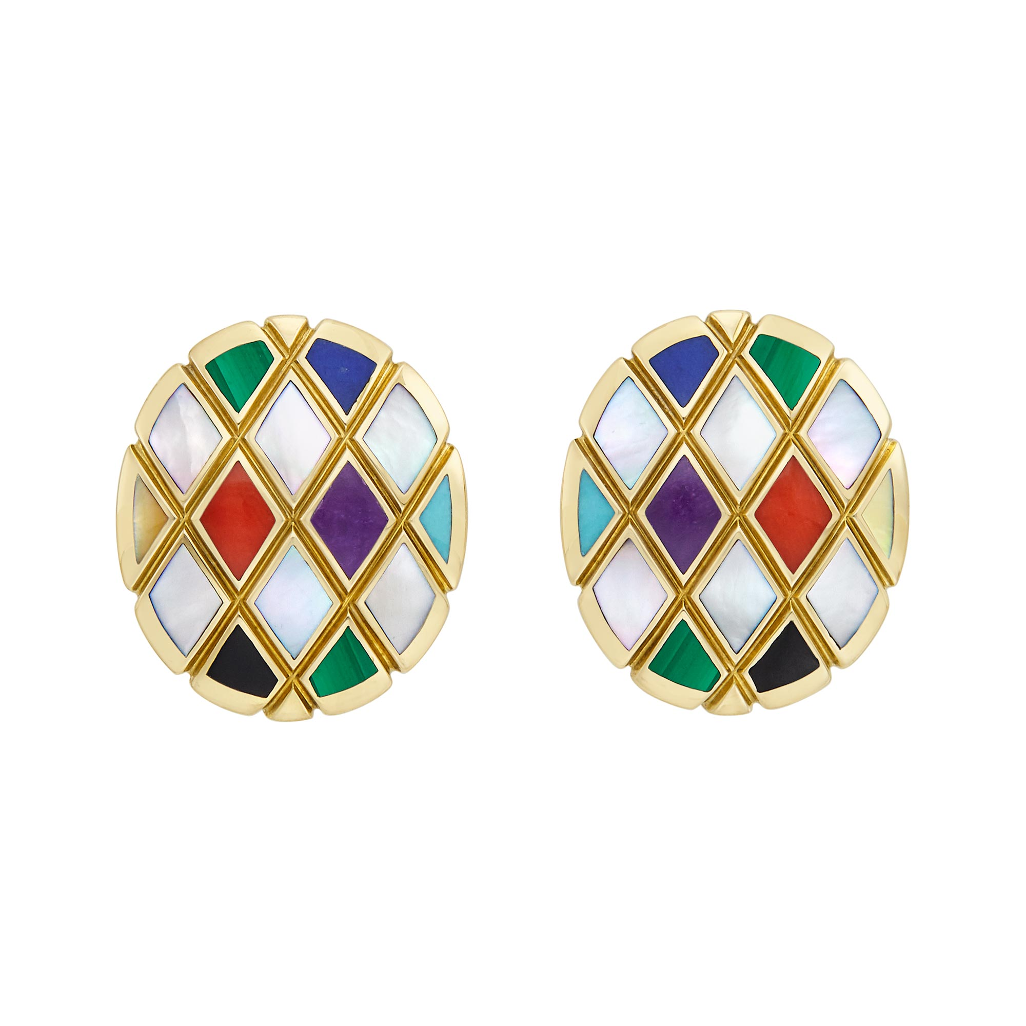 Lot image - Pair of Gold, Mother-of-Pearl and Hardstone Earrings, Asch Grossbardt