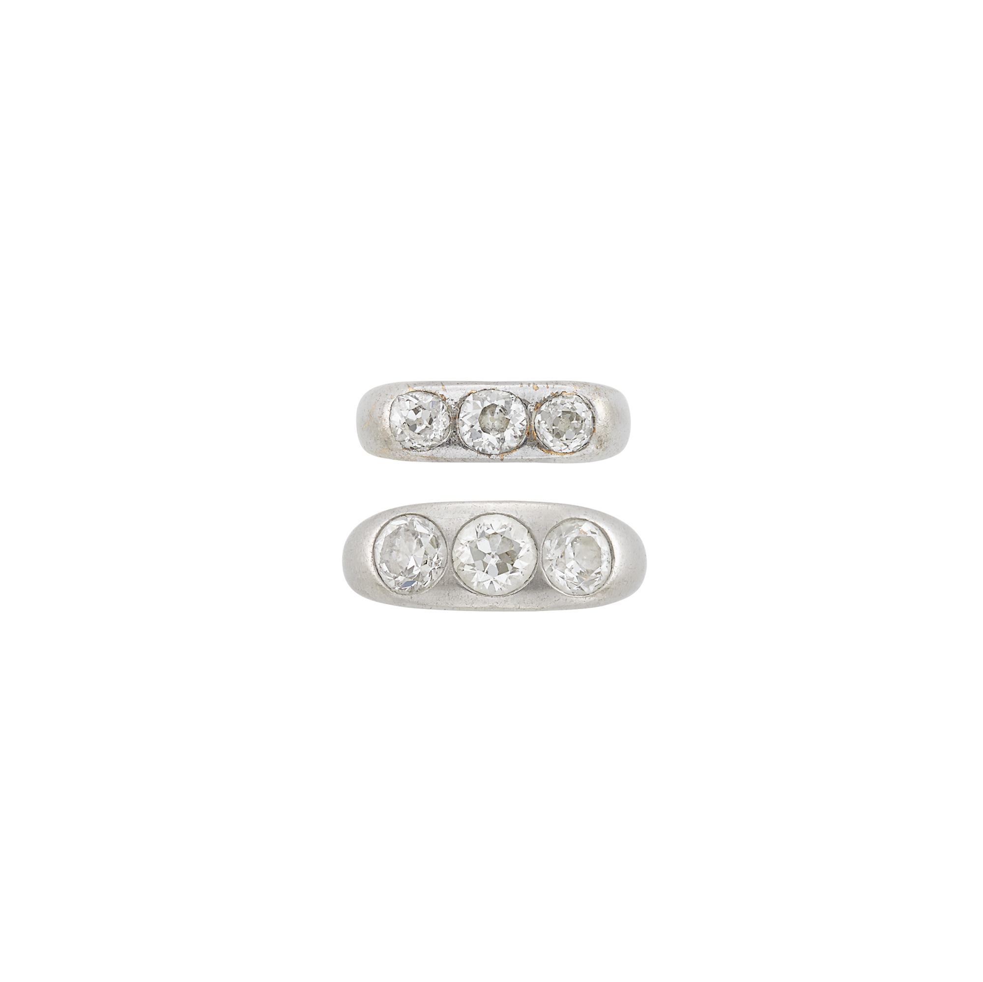 Lot image - Two Platinum, White Gold and Diamond Pinky Gypsy Rings