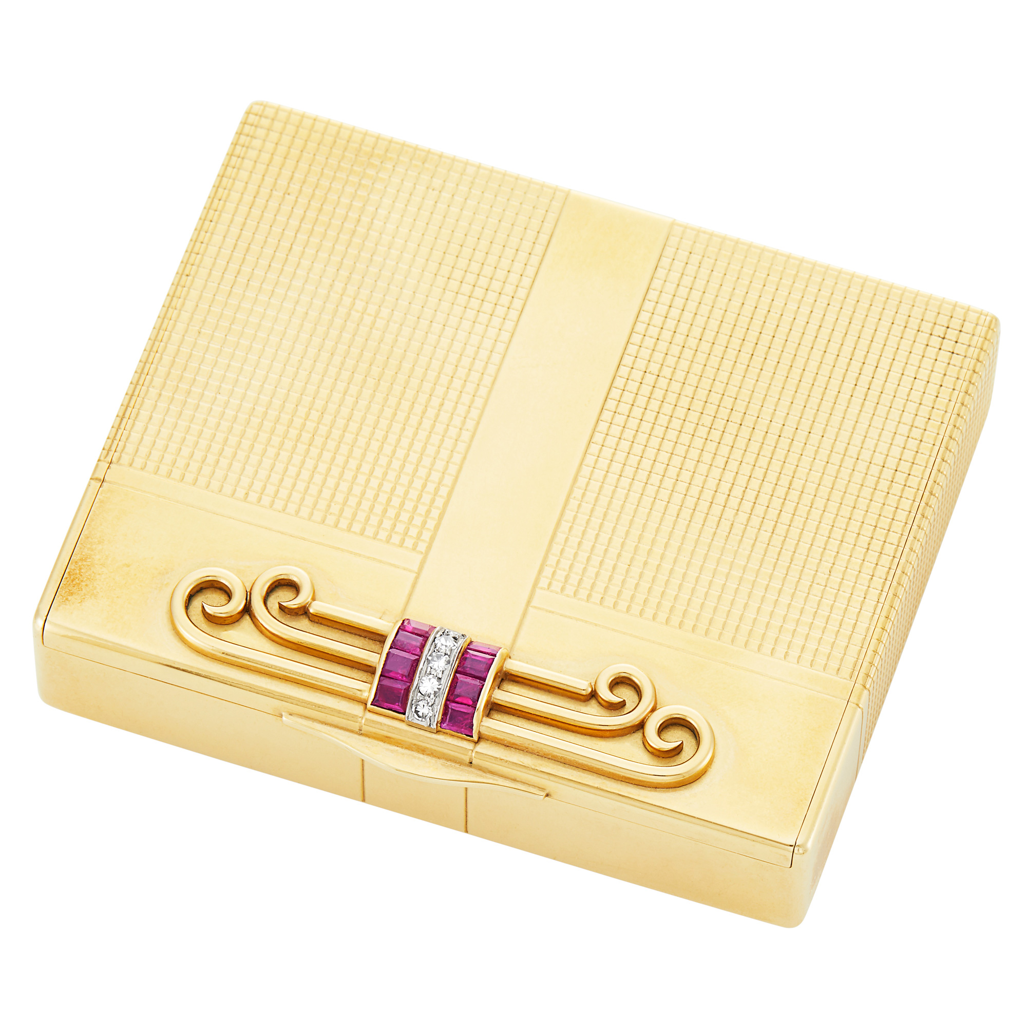 Lot image - Tiffany & Co. Gold, Ruby and Diamond Compact