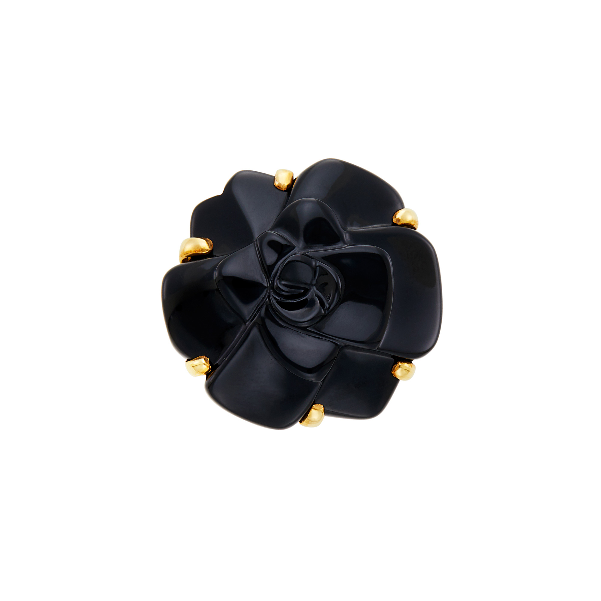 Lot image - Chanel Gold and Carved Black Onyx Camelia Ring, France