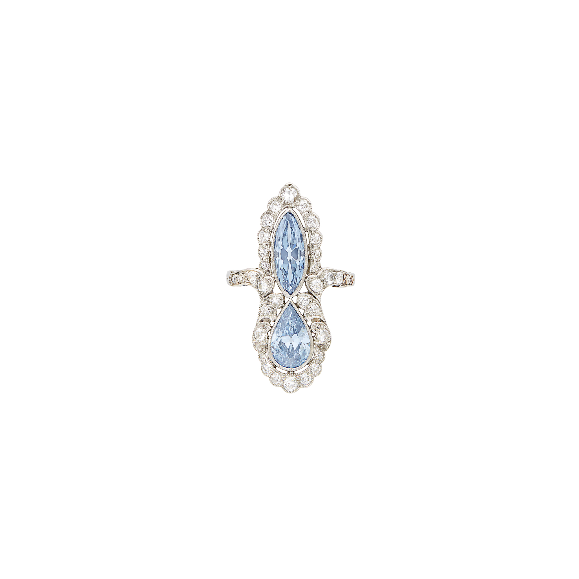 Lot image - Platinum, Fancy Intense and Fancy Vivid Blue Diamond and Diamond Ring