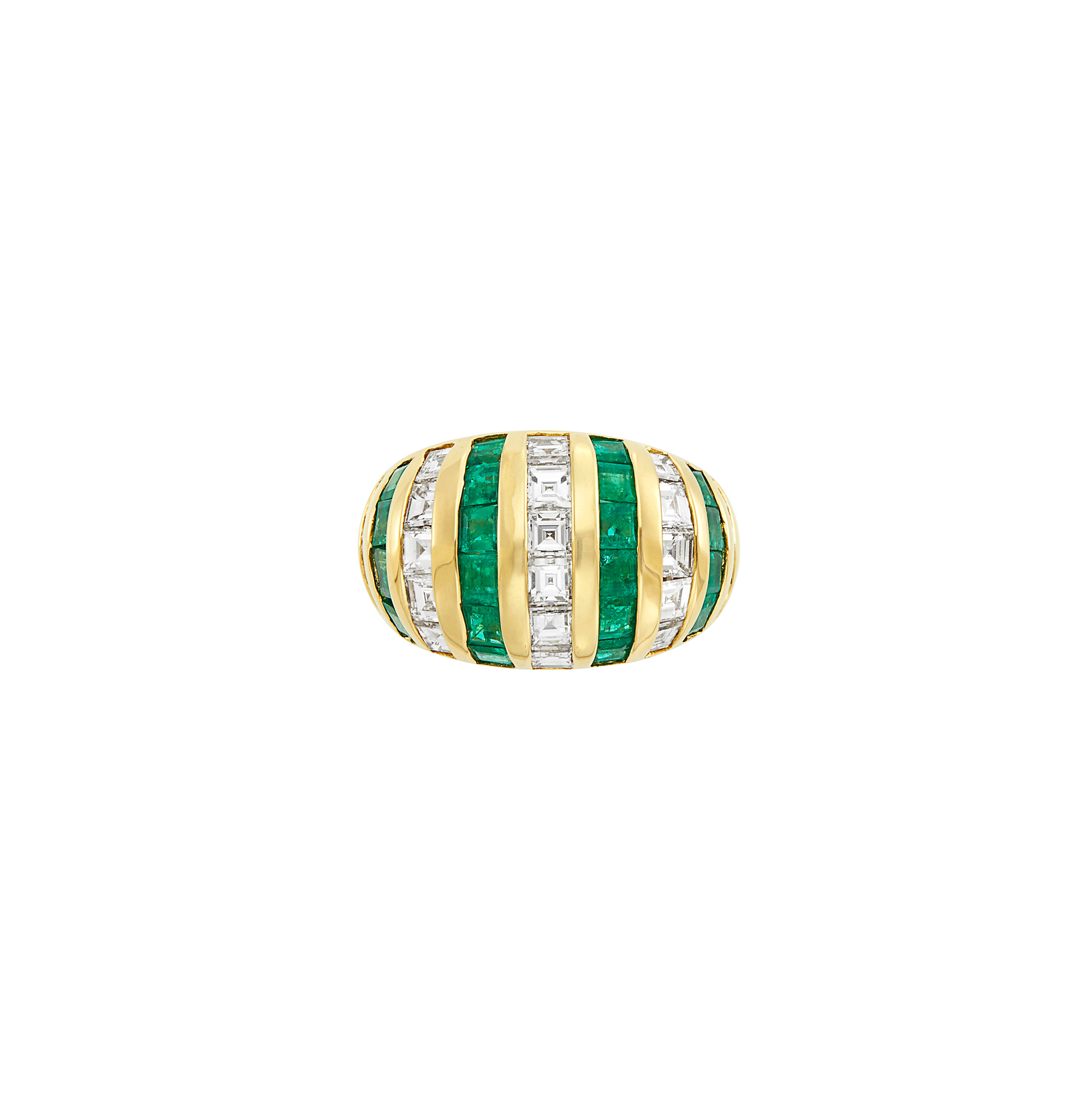 Lot image - Gold, Diamond and Emerald Bombé Ring