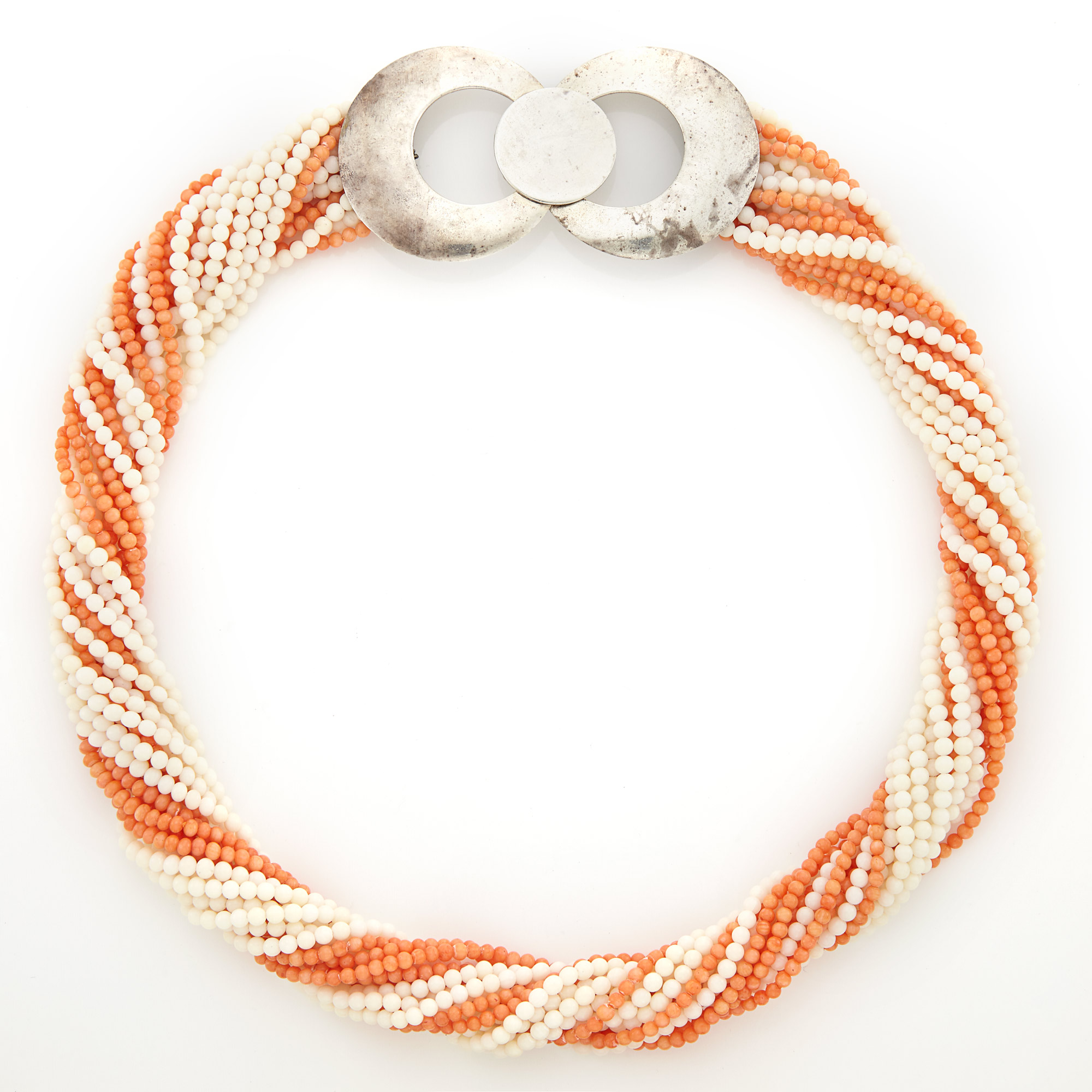 Lot image - Multistrand Orange and White Coral Torsade Necklace with Silver Clasp