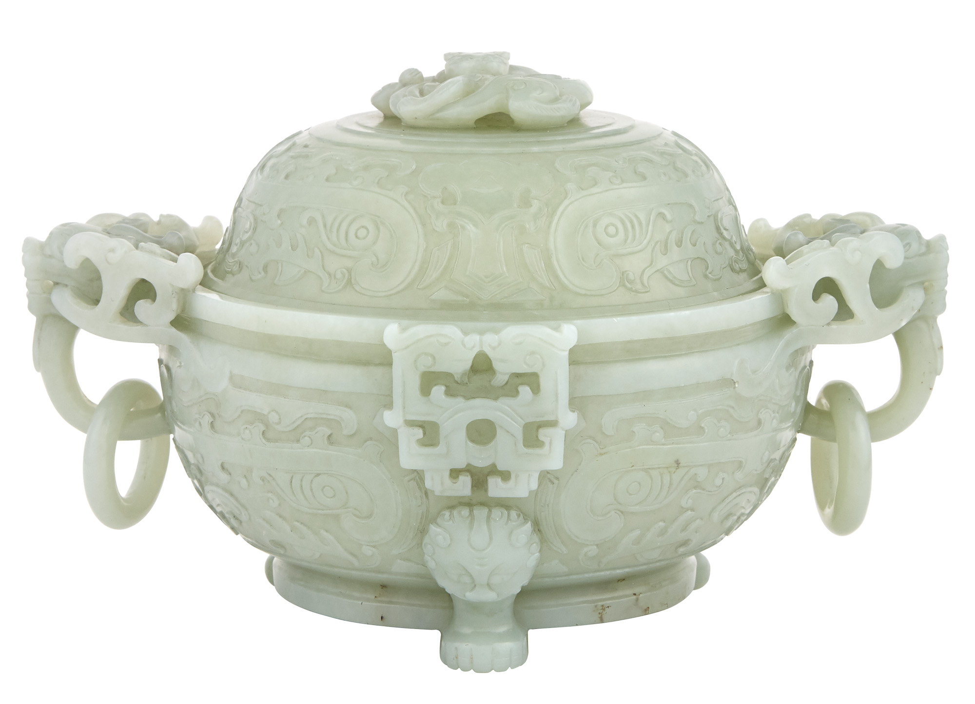 Lot image - Chinese Celadon Jade Censor With Cover