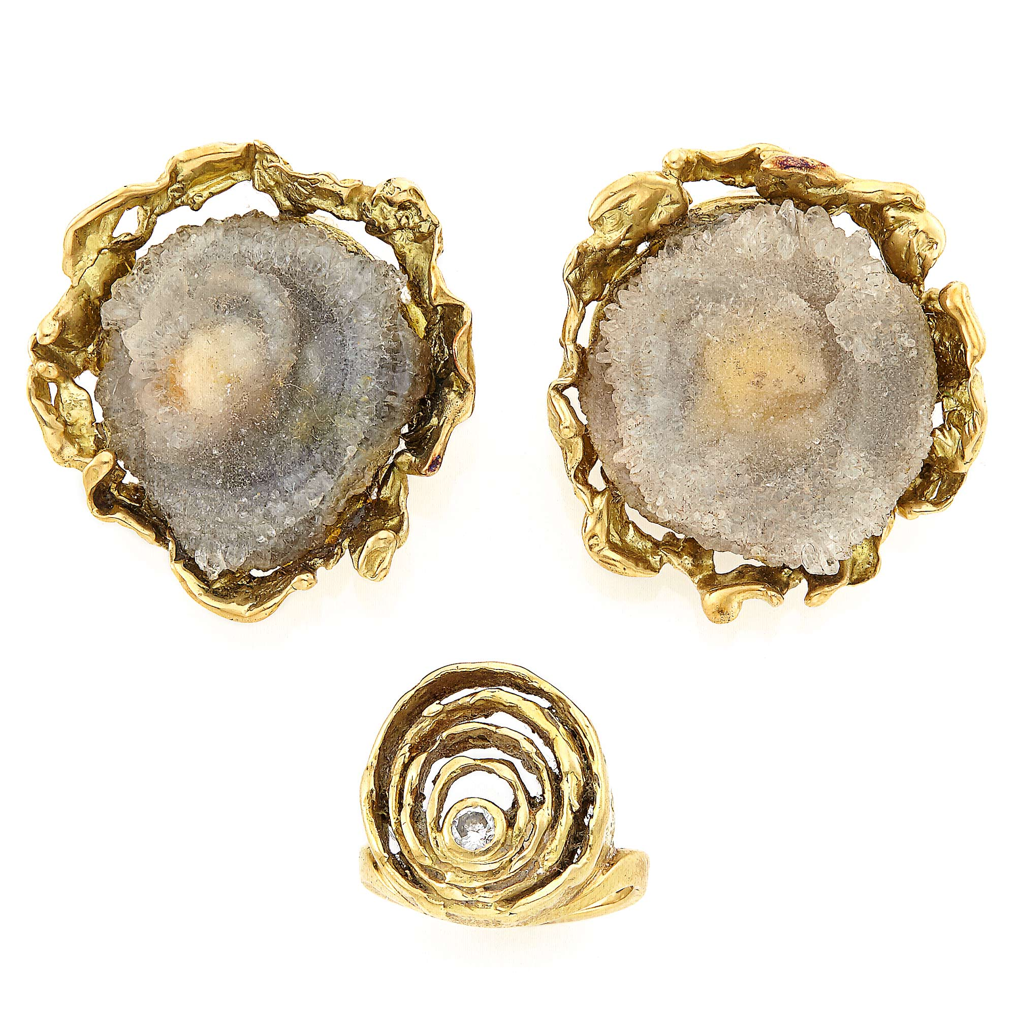 Lot image - Pair of Gold and Drusy Agate Earclips and Gold and Diamond Spiral Ring, John Donald