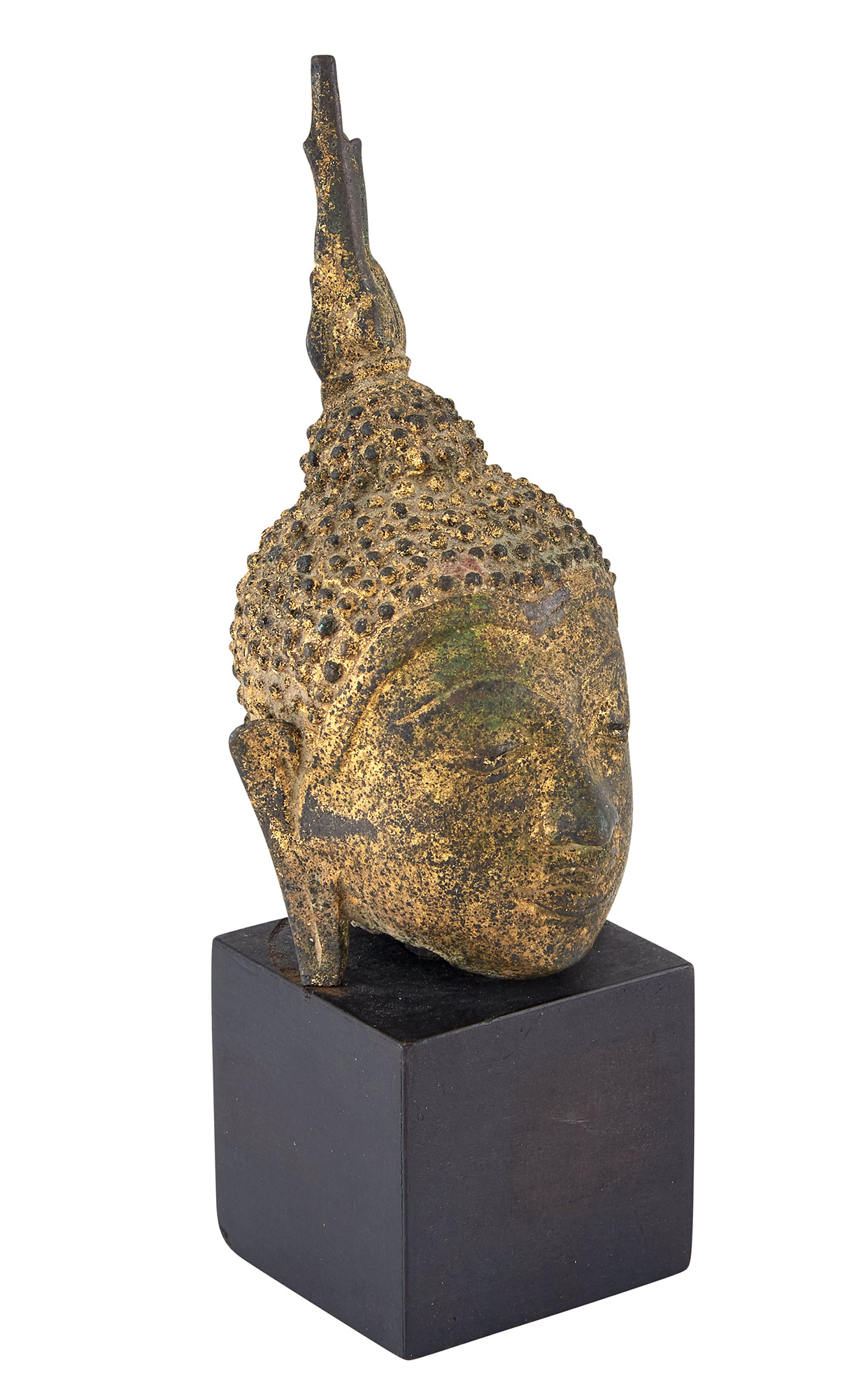 Lot image - Thai Gilt-Bronze Head of Buddha