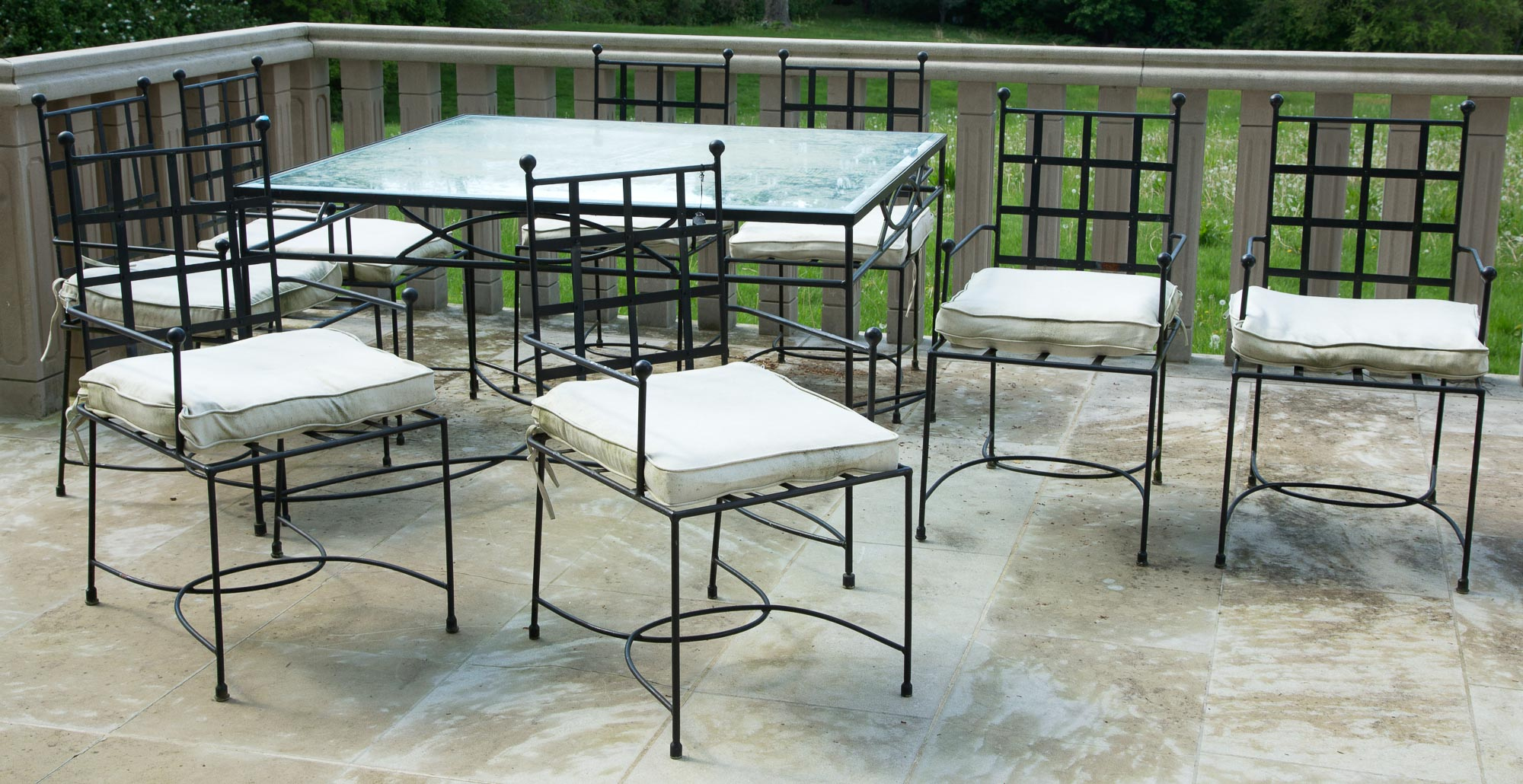 Lot image - Set of Eight Painted Metal Dining Armchairs
