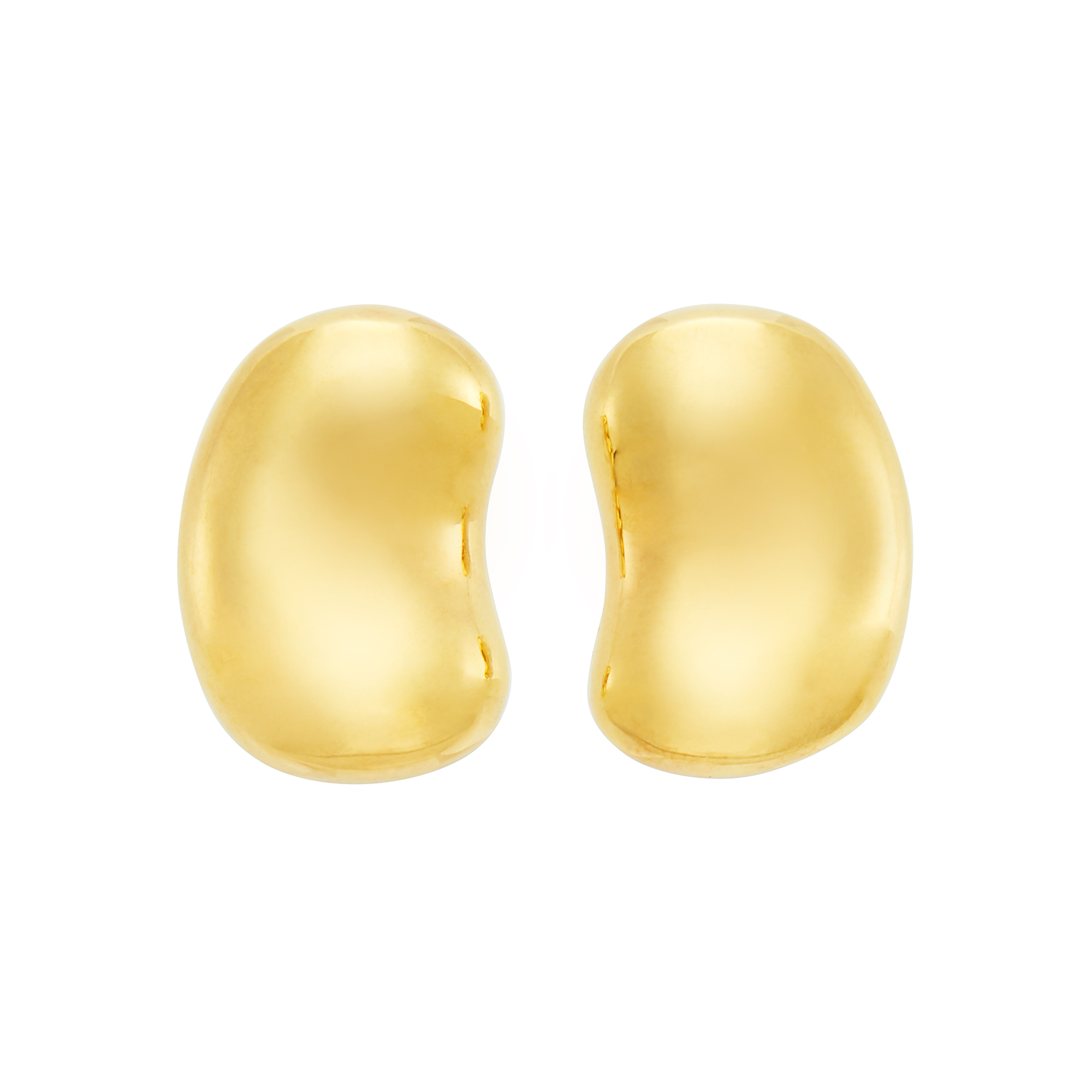 Lot image - Pair of Gold Bean Earclips, Tiffany & Co., Elsa Peretti