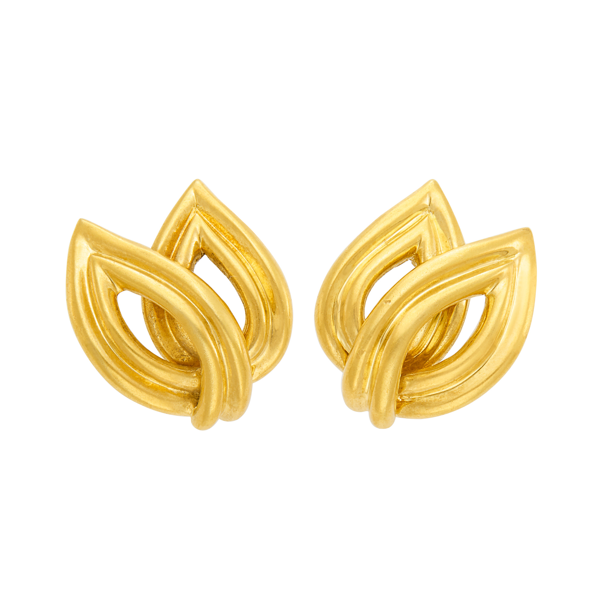 Lot image - Pair of Gold Leaf Earclips, Tiffany & Co.