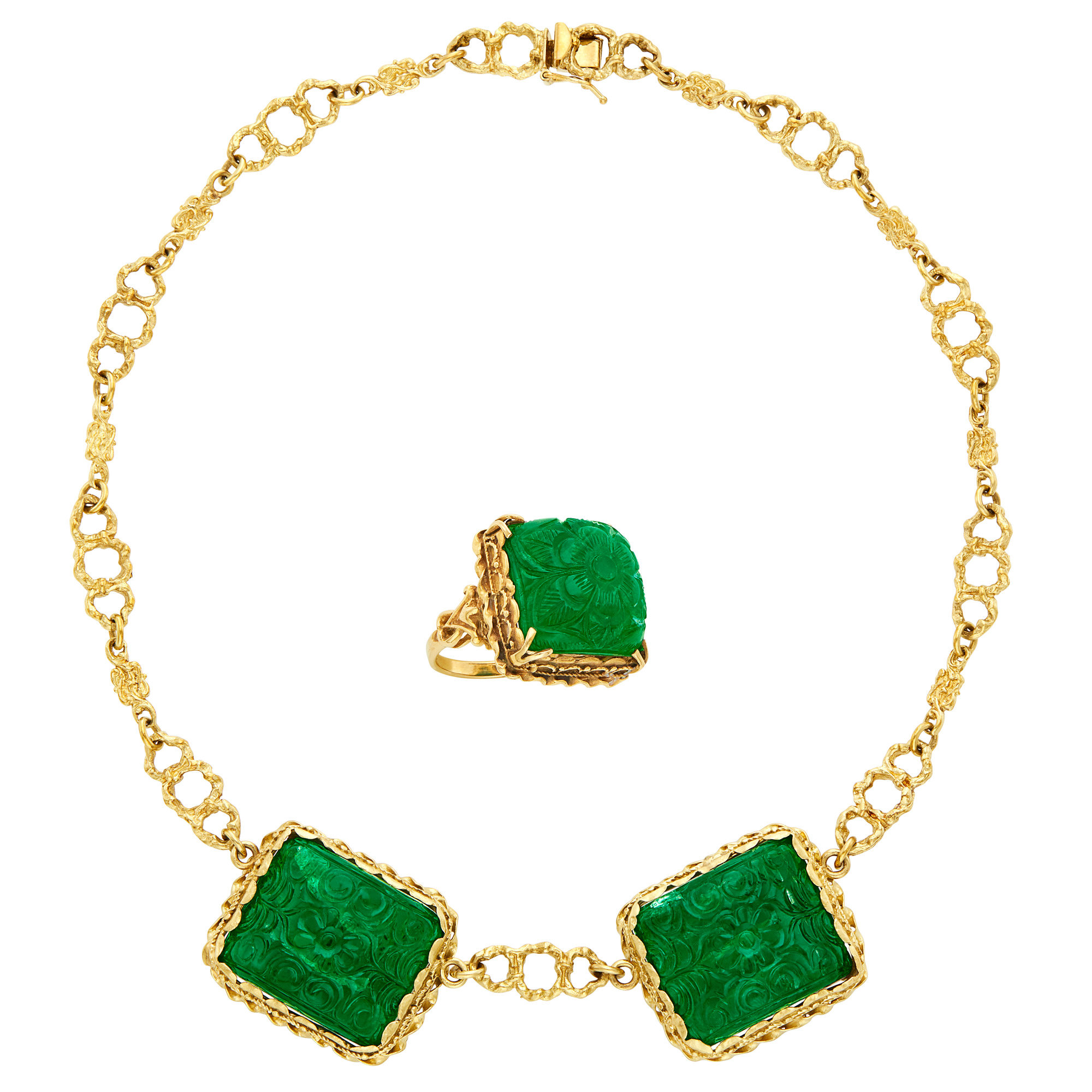 Lot image - Gold and Carved Emerald Chain Necklace and Ring