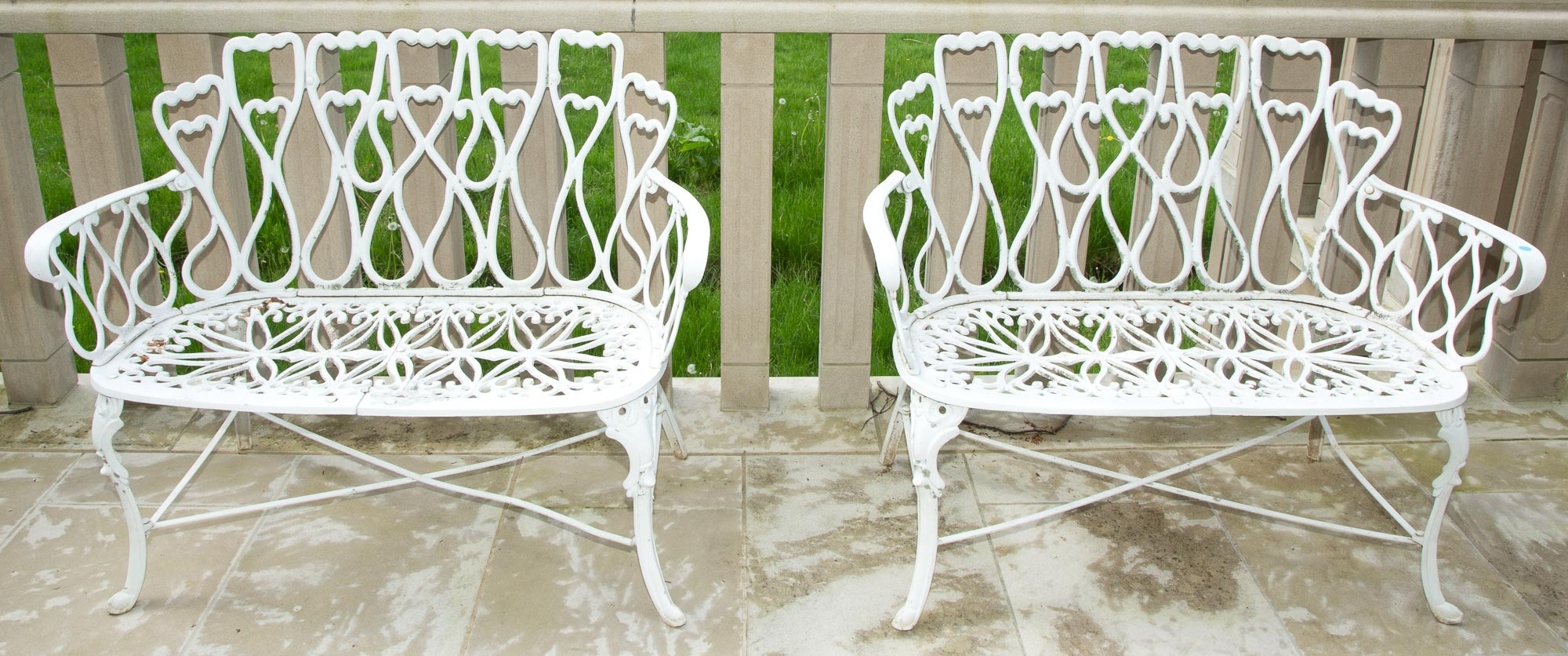 Lot image - Pair of White Painted Cast Metal Garden Benches