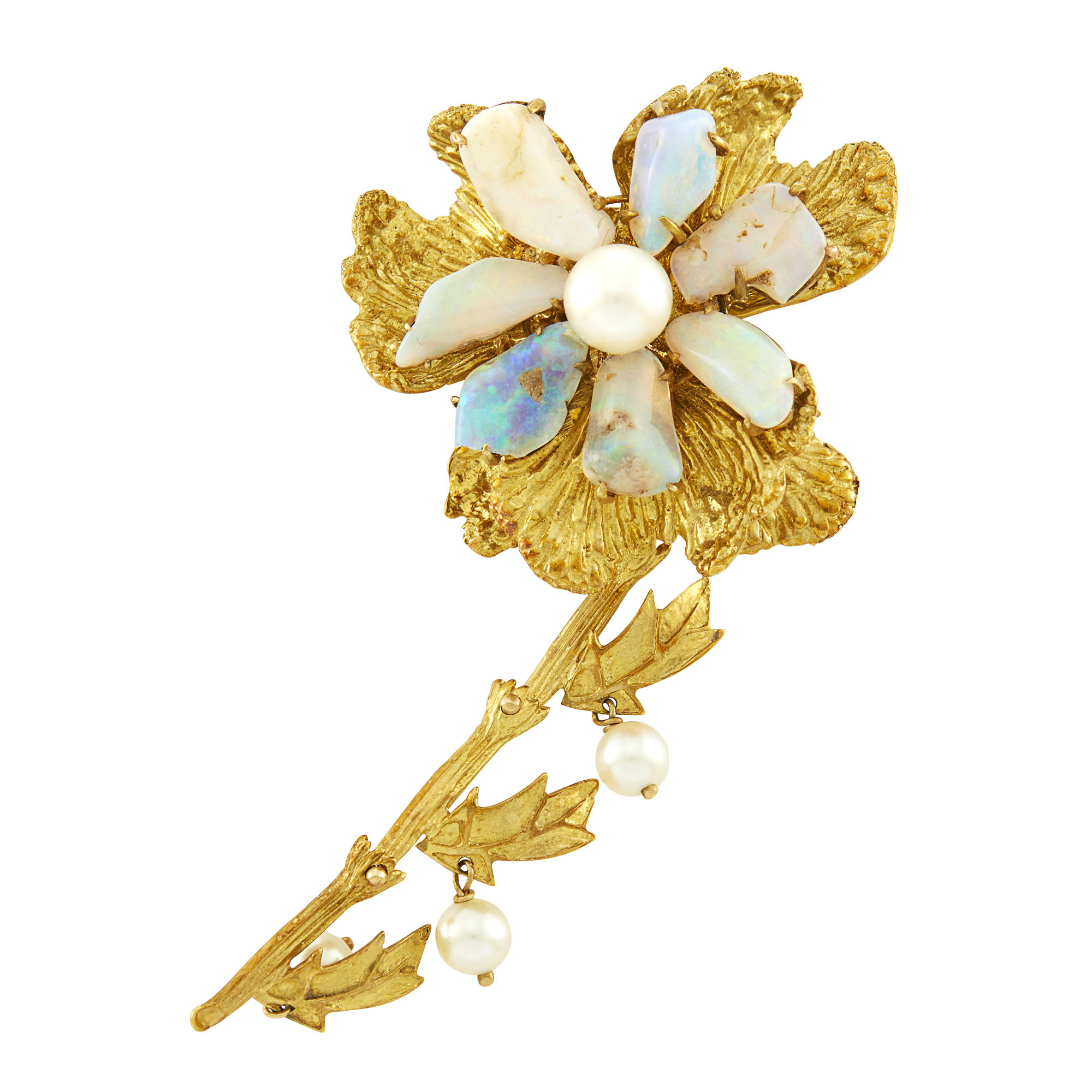 Lot image - Gold, Opal and Cultured Pearl Flower Brooch