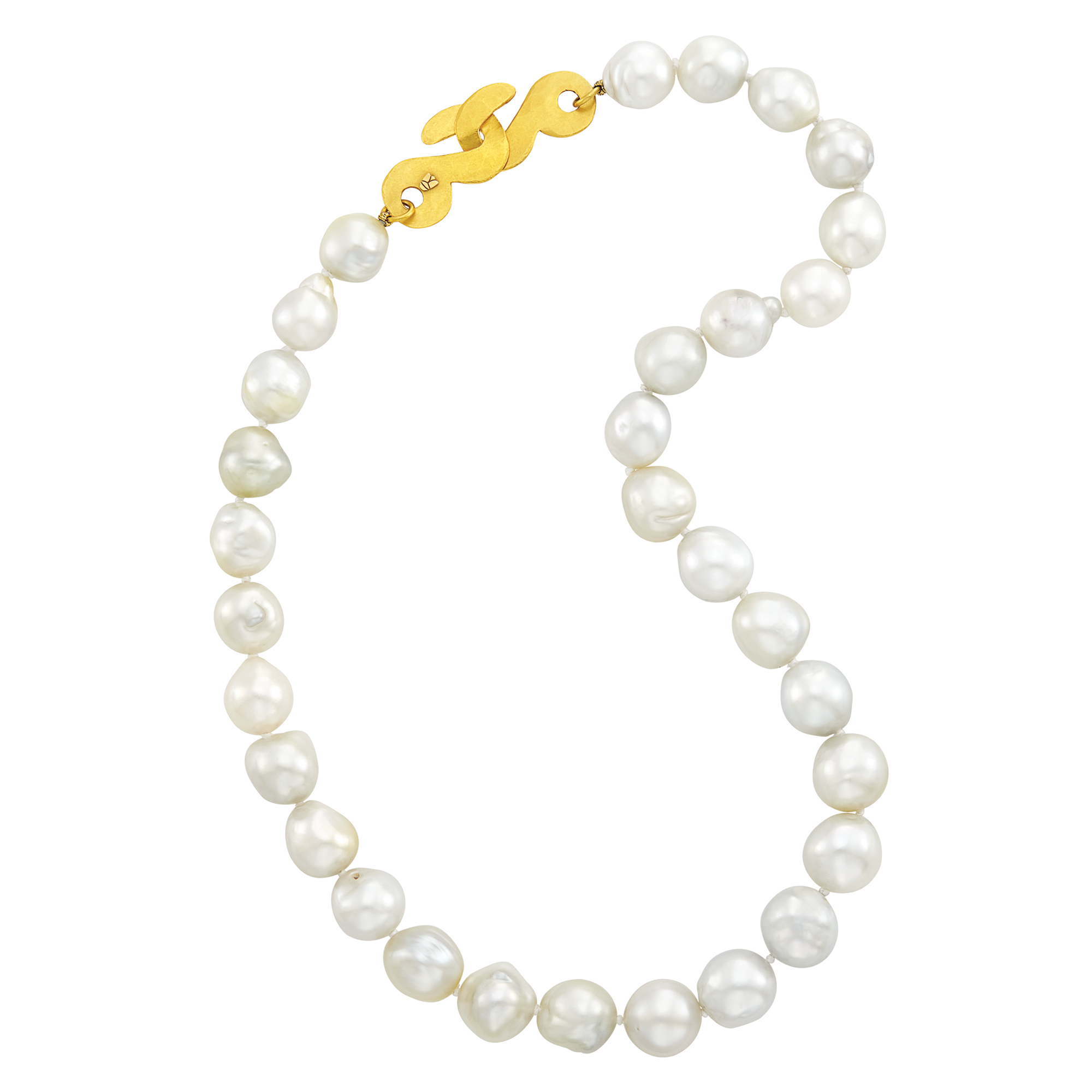 Lot image - South Sea Semi-Baroque Cultured Pearl Shambala Necklace with Gold Clasp, Linda Lee Johnson