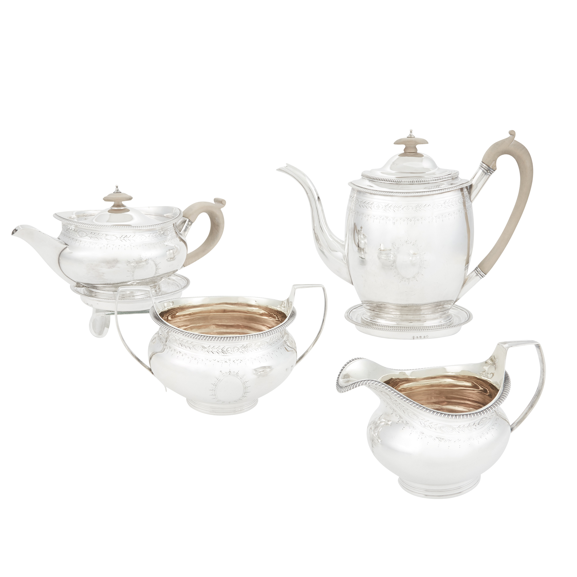 Lot image - George III Sterling Silver Four Piece Tea and Coffee Service