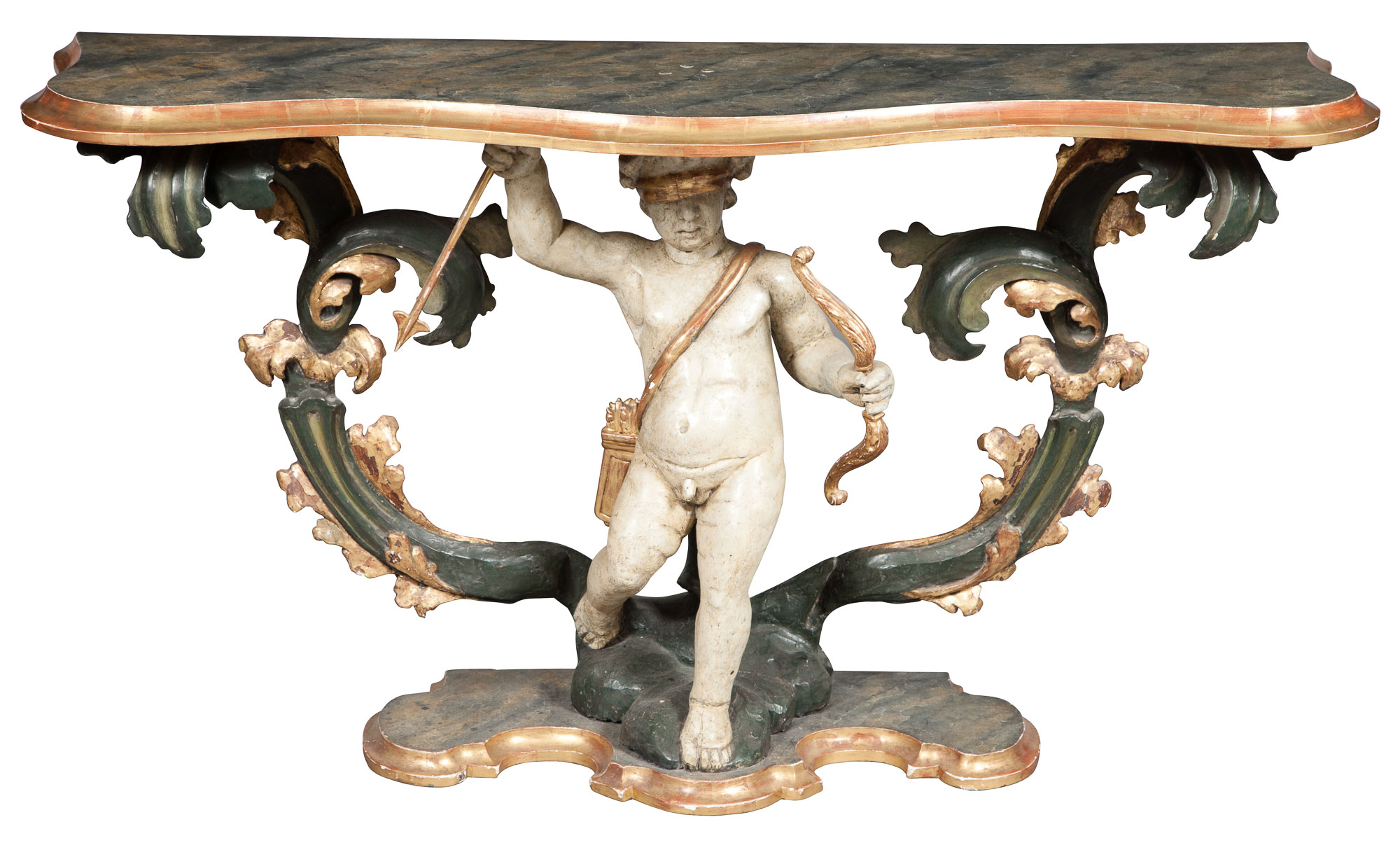 Lot image - Italian Baroque Faux Marble Painted and Parcel-Gilt Console