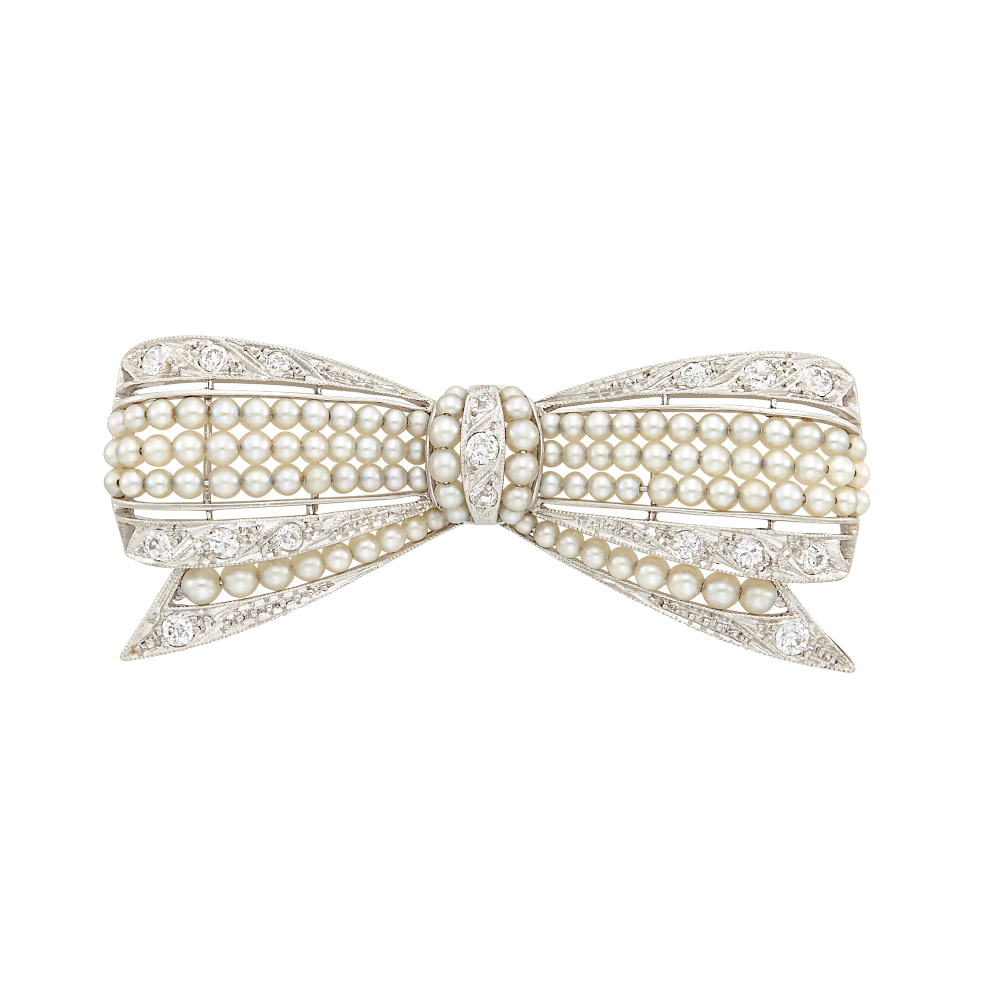 Lot image - Belle Époque Platinum, Seed Pearl and Diamond Bow Brooch