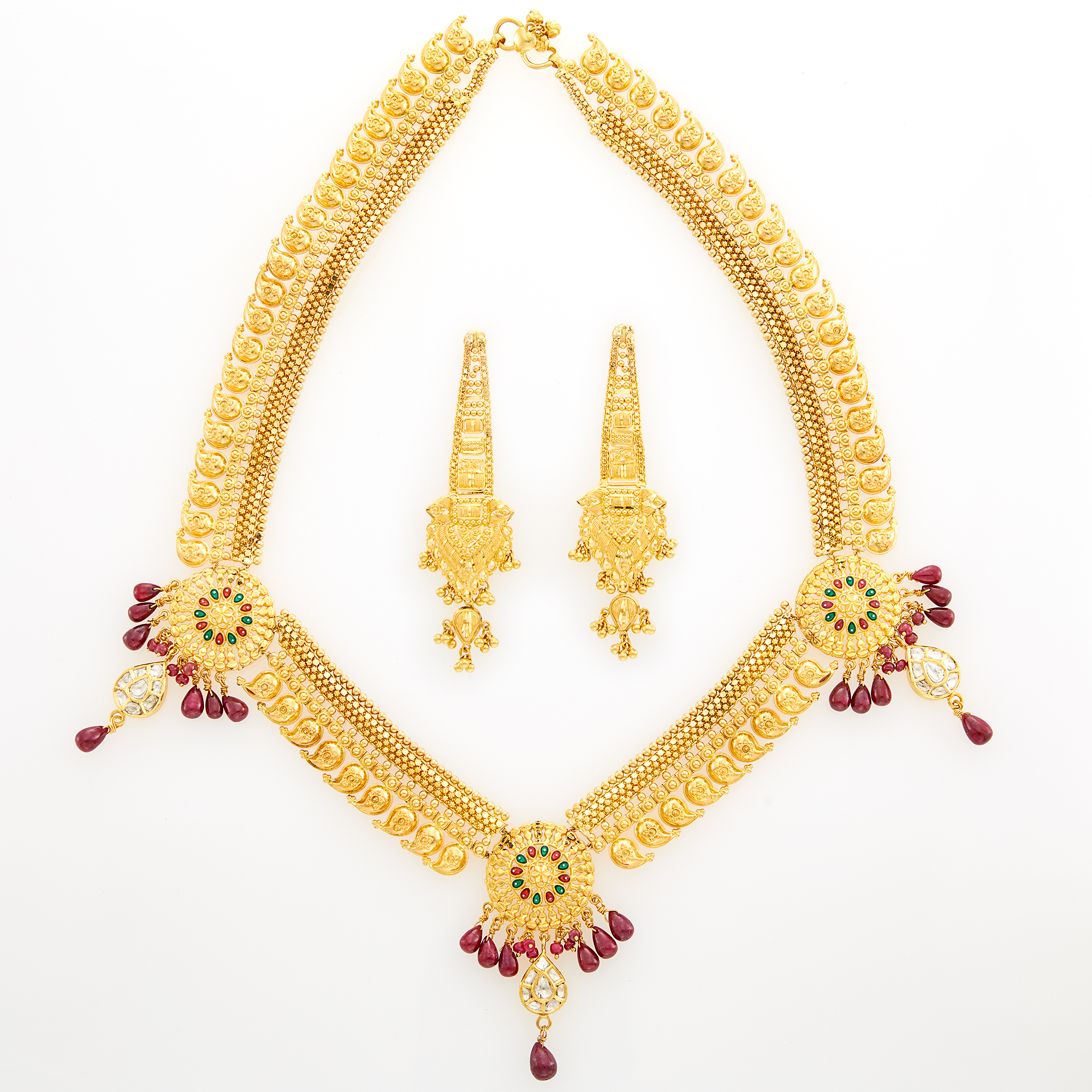 Lot image - Indian High Karat Gold, Foil-Backed Diamond and Ruby Bead Necklace and Pair of Gold Pendant-Earrings