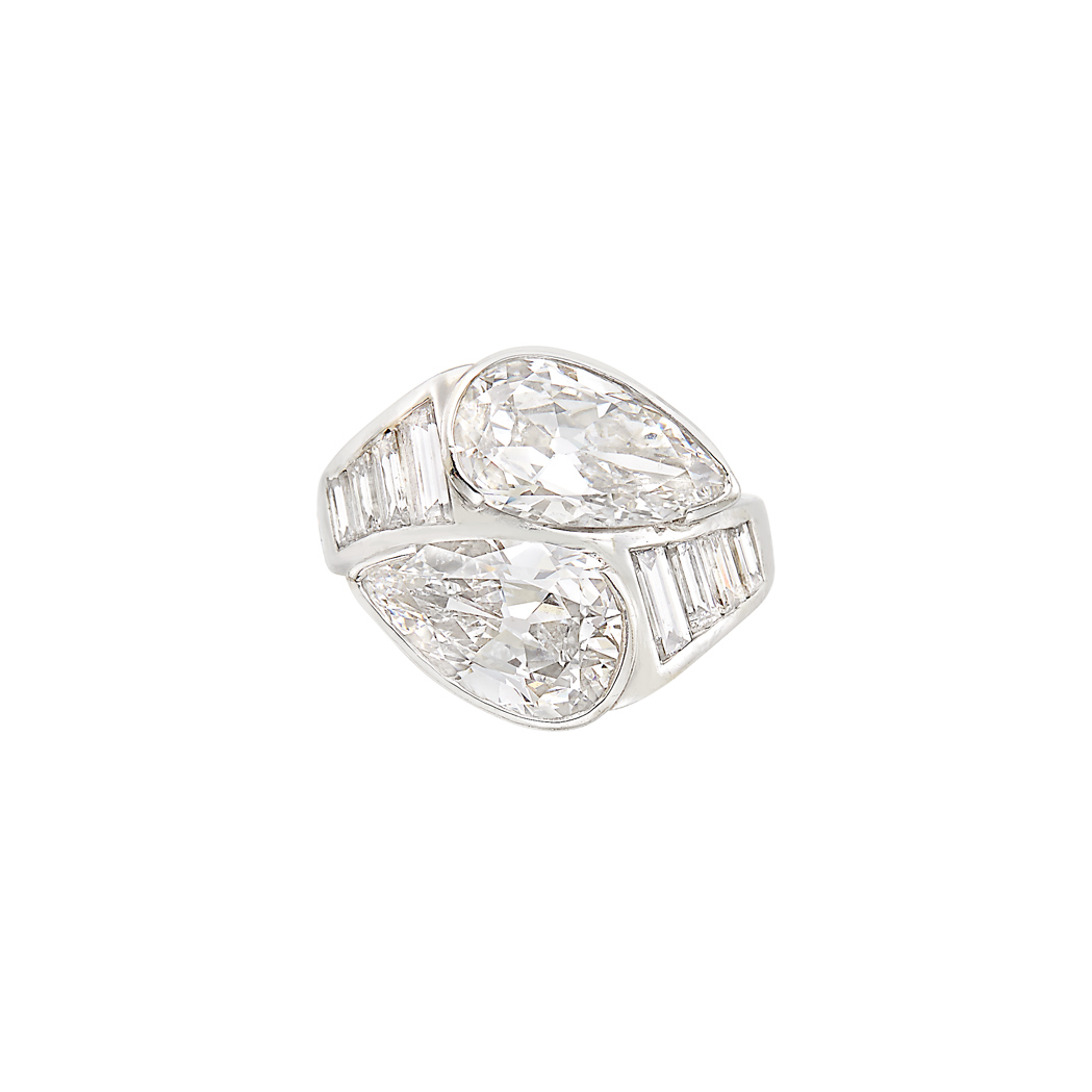 Lot image - Platinum and Diamond Crossover Ring
