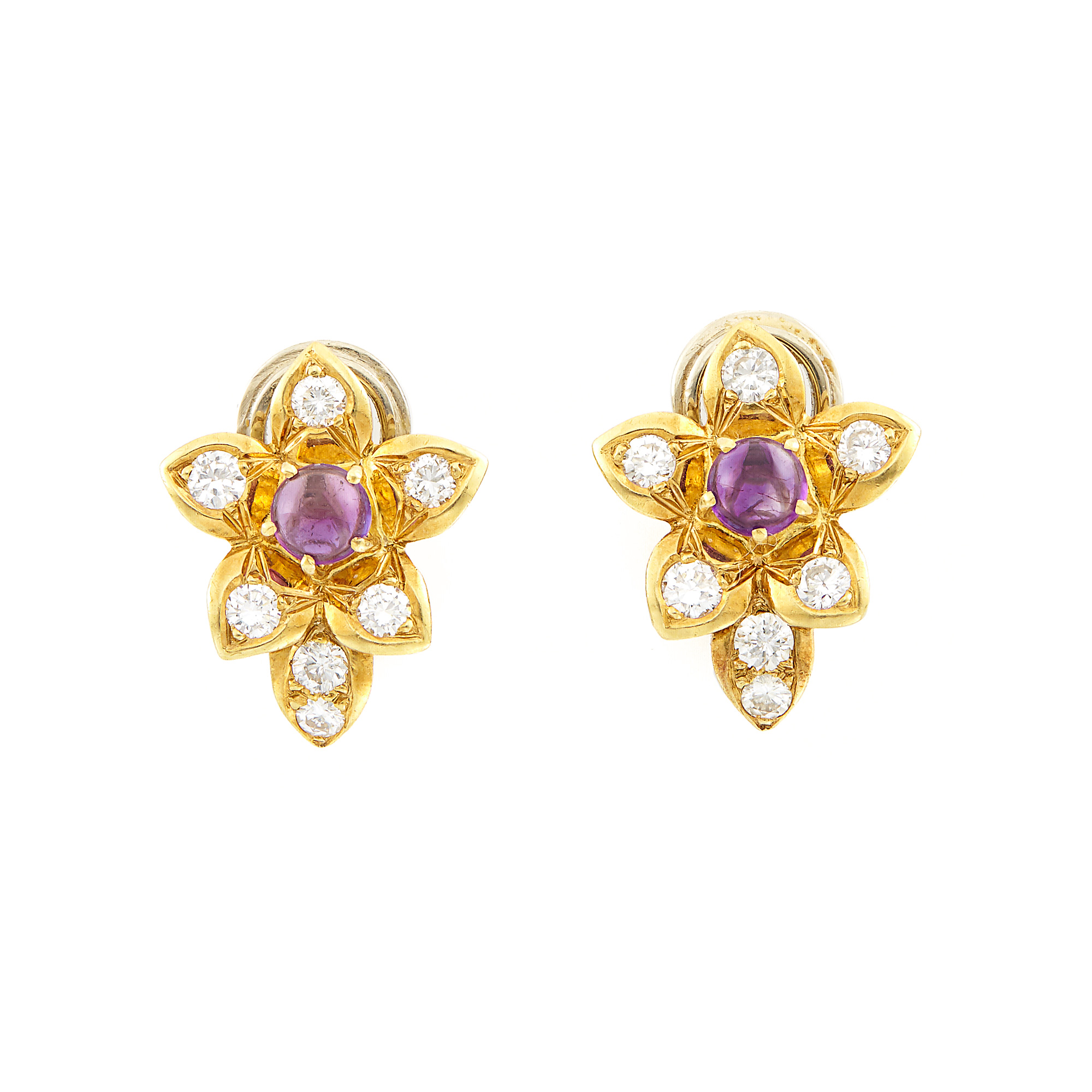 Lot image - Pair of Gold, Cabochon Amethyst and Diamond Flower Earclips
