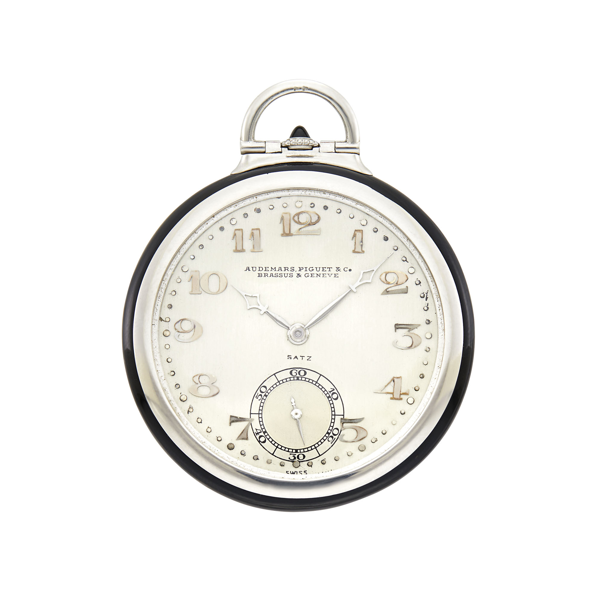 Lot image - Audemars Piguet Art Deco Platinum, Black Enamel and Diamond Open Face Pocket Watch