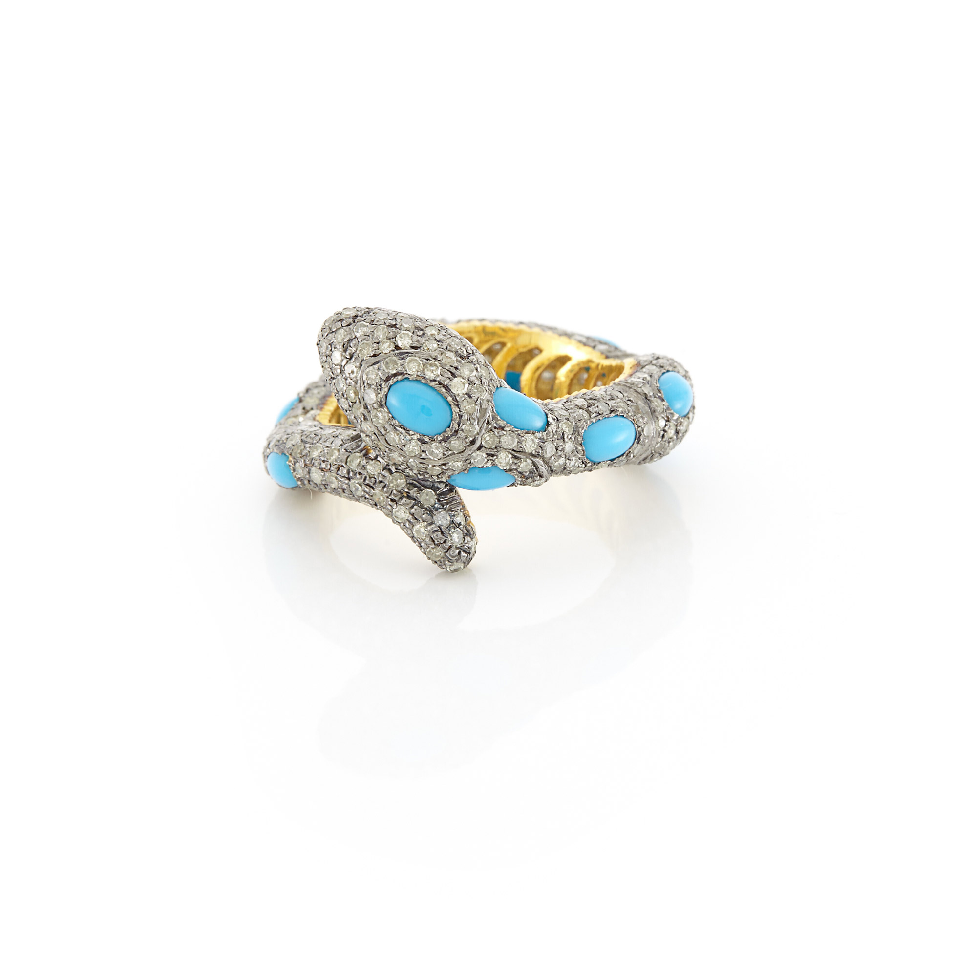 Lot image - Gold, Silver, Turquoise and Diamond Snake Ring