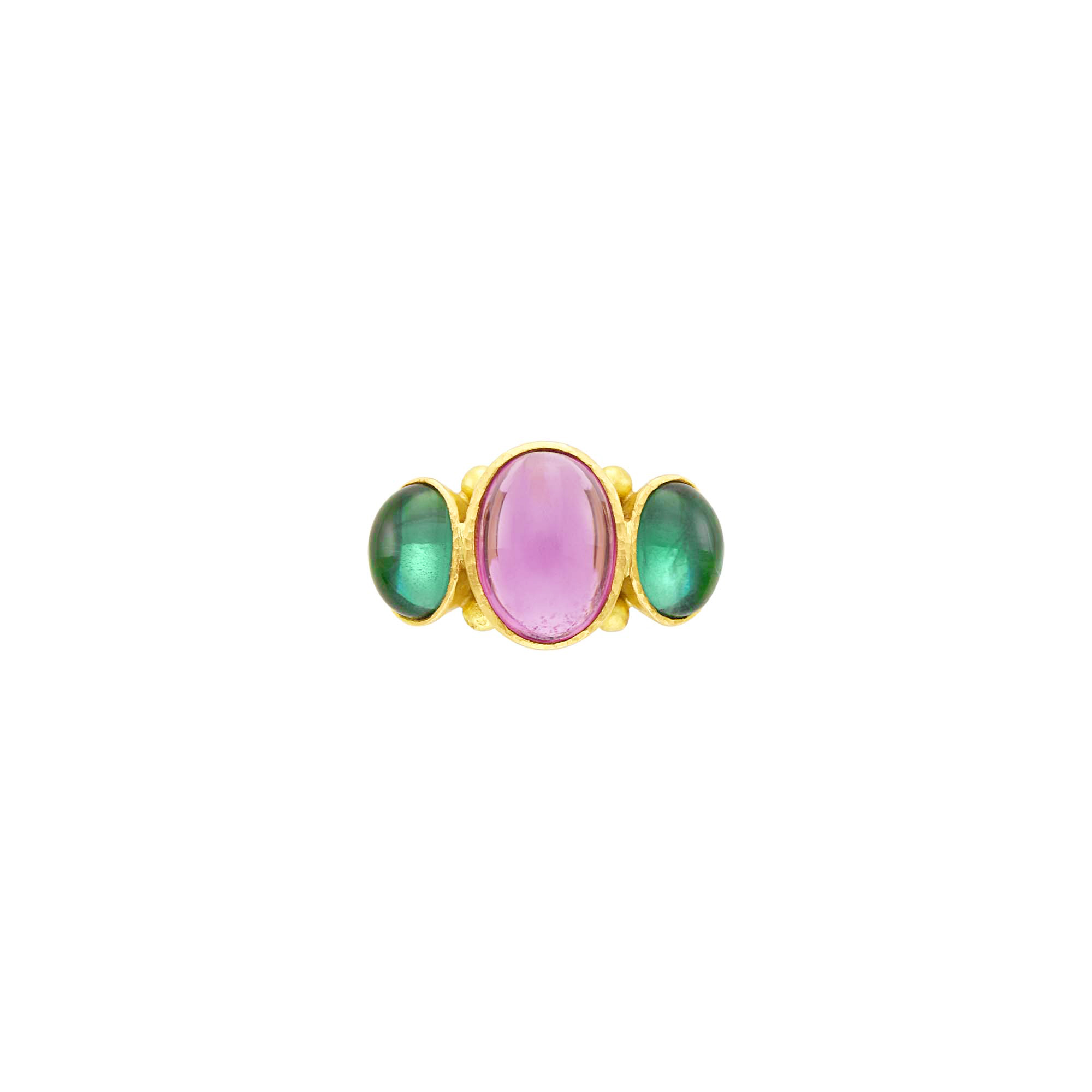 Lot image - Elizabeth Locke Hammered Gold and Cabochon Pink and Green Tourmaline Ring