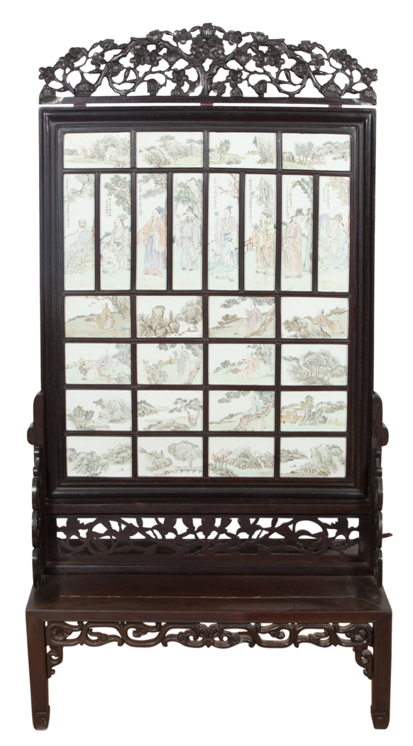 Lot image - Chinese Porcelain Screen
