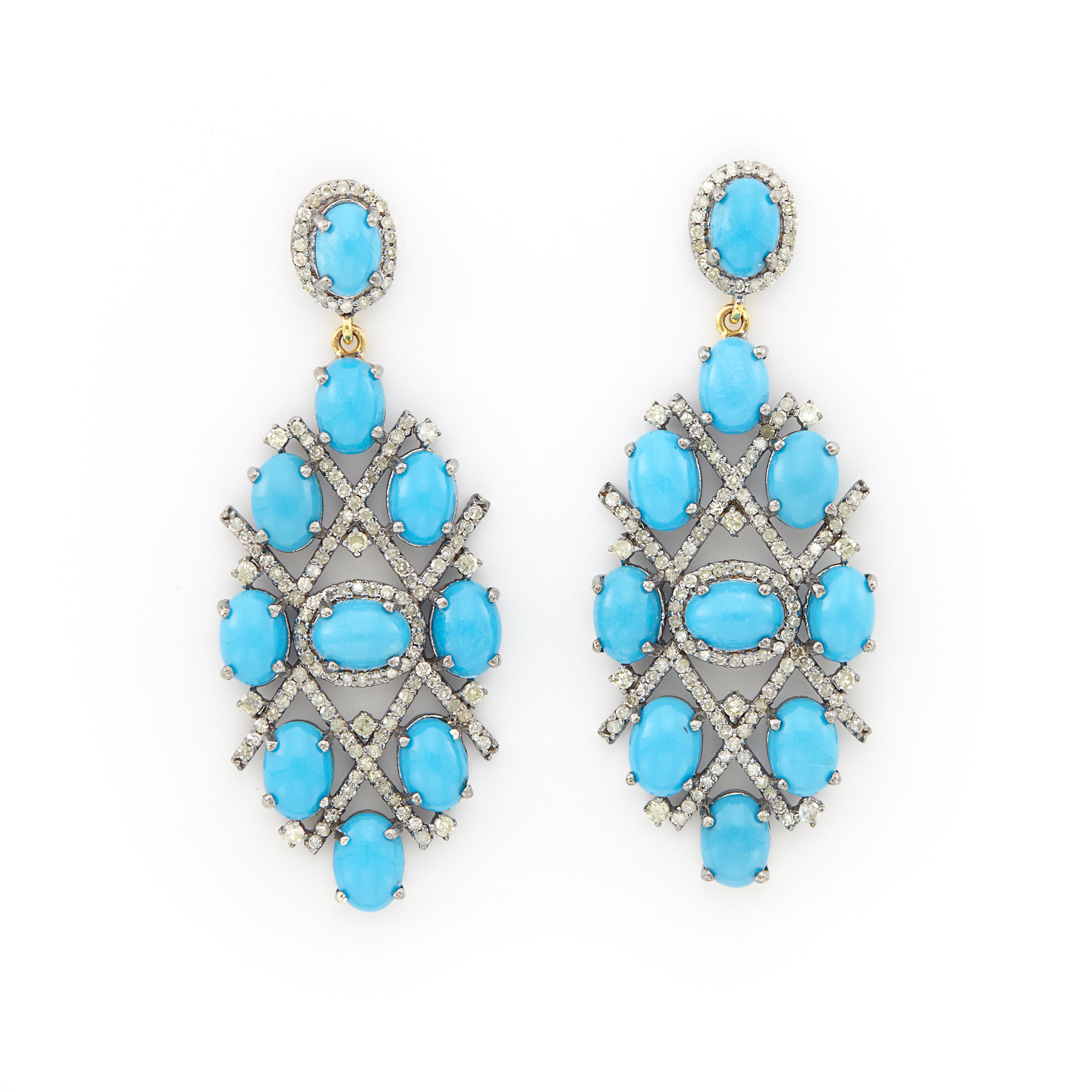 Lot image - Pair of Blackened and Yellow Gold, Turquoise and Diamond Pendant-Earrings