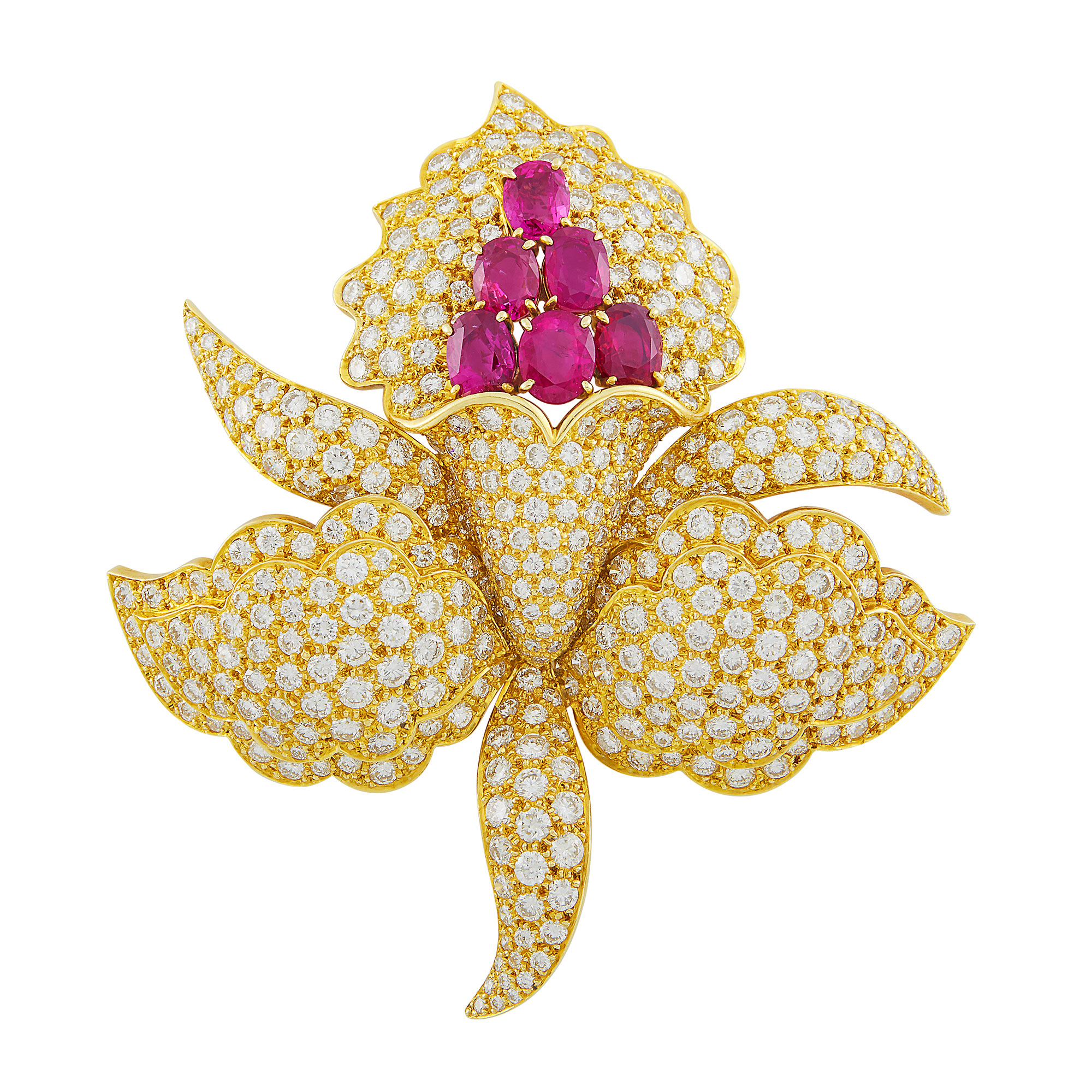 Lot image - Gold, Ruby and Diamond Flower Clip-Brooch, Van Cleef & Arpels