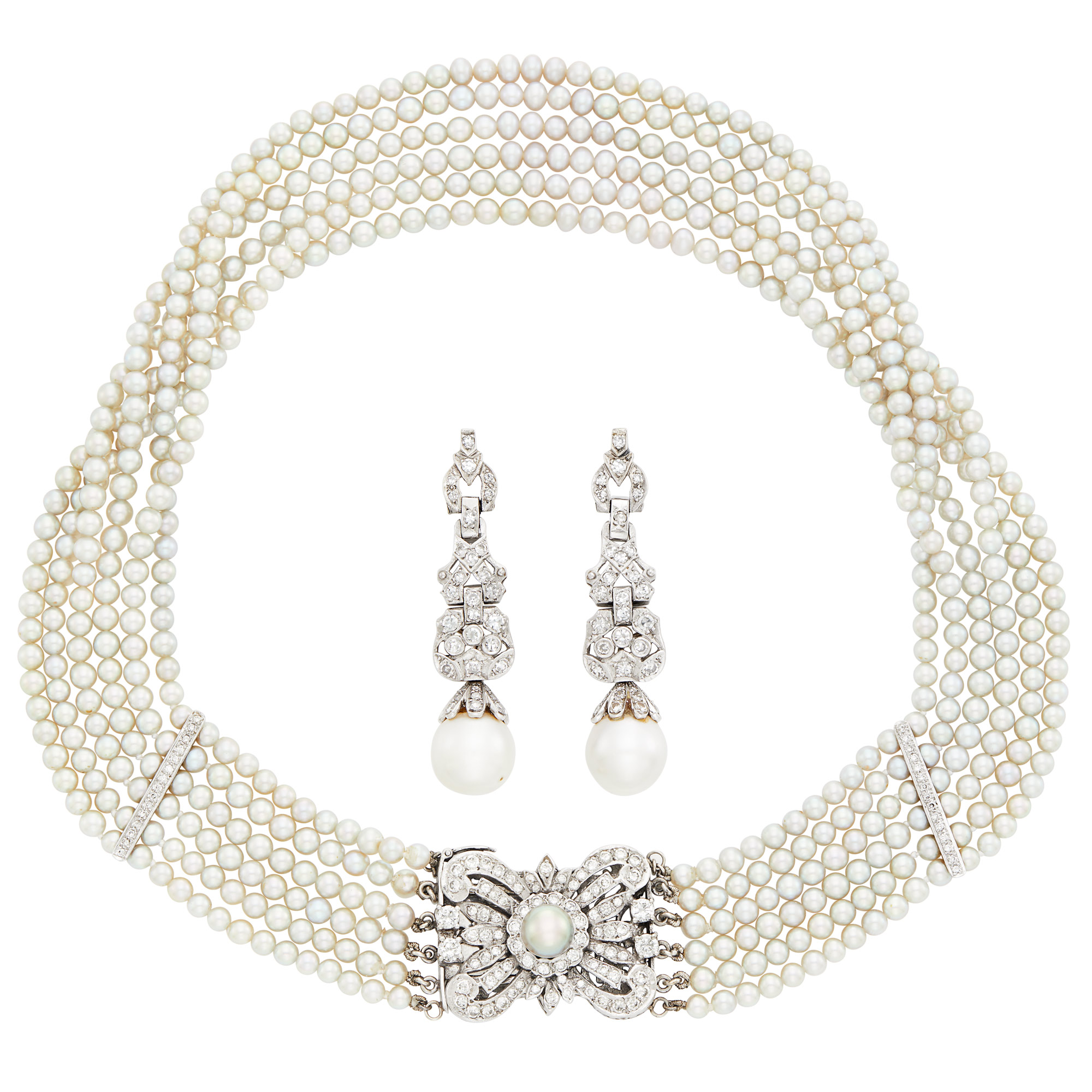 Lot image - Multistrand Cultured and Freshwater Pearl, White Gold and Diamond Necklace and Pair of Pendant-Earrings