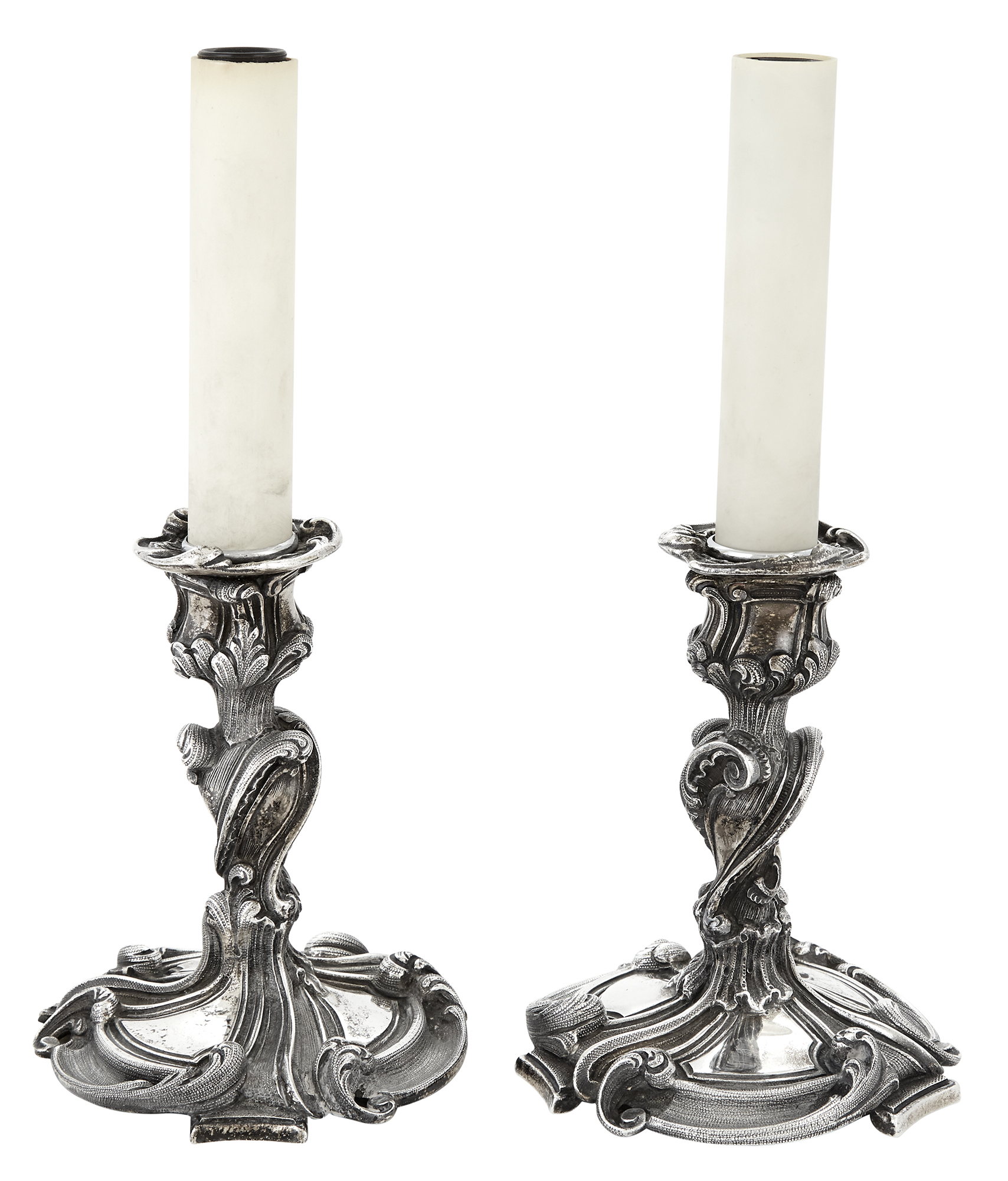 Lot image - Pair of Buccellati Rococo Style Sterling Silver Dresser Lamps