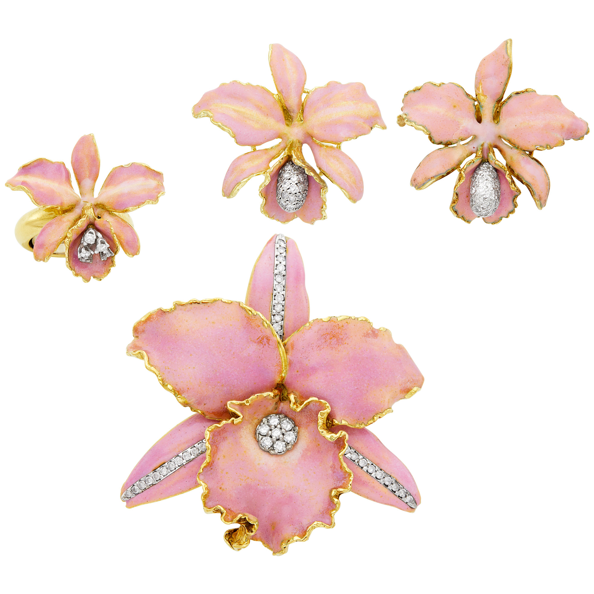 Lot image - Gold, Pink Enamel and Diamond Flower Brooch, Pair of Earclips and Ring