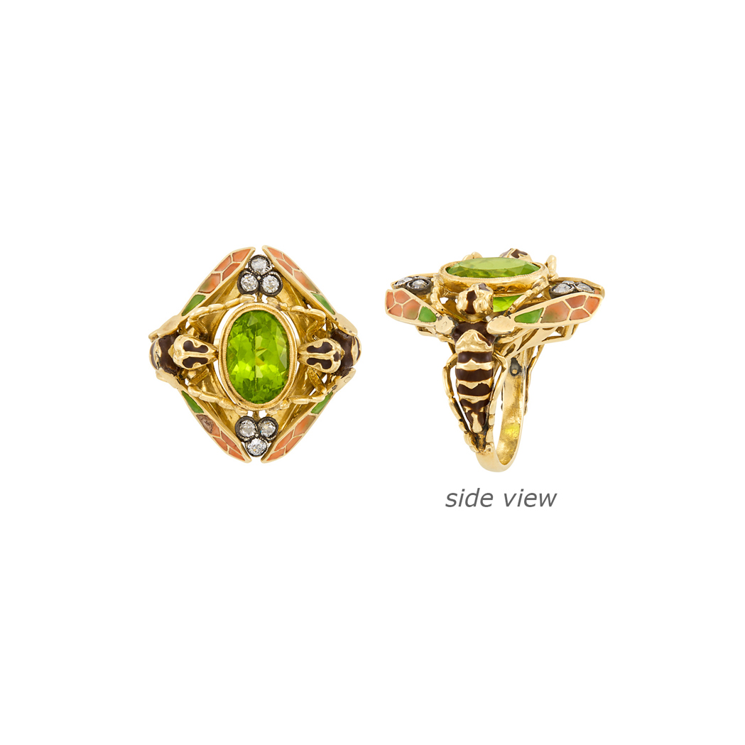 Lot image - Art Nouveau Gold, Silver, Plique-à-Jour Enamel, Peridot and Diamond Double Wasp Ring, France