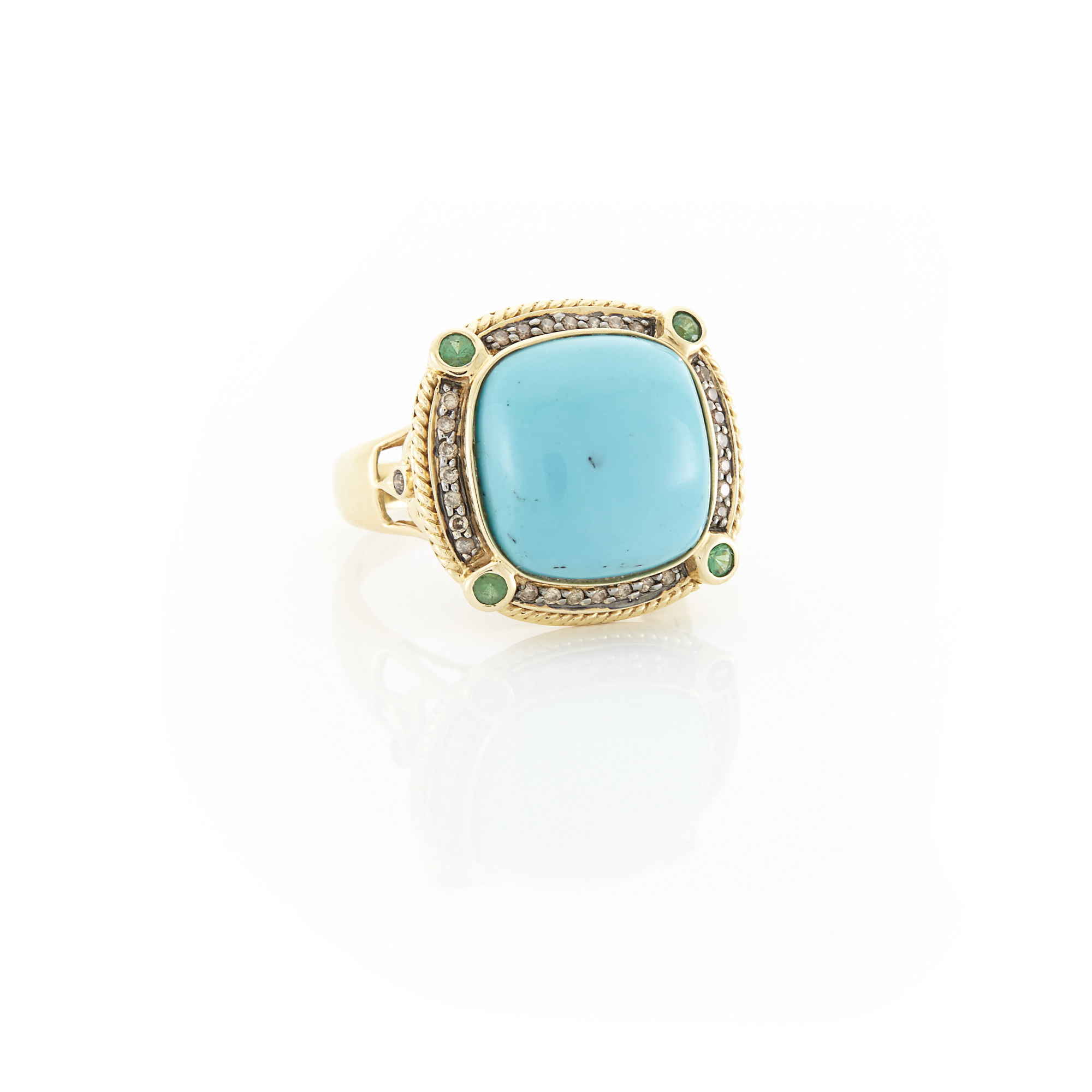 Lot image - Gold, Turquoise, Emerald and Diamond Ring