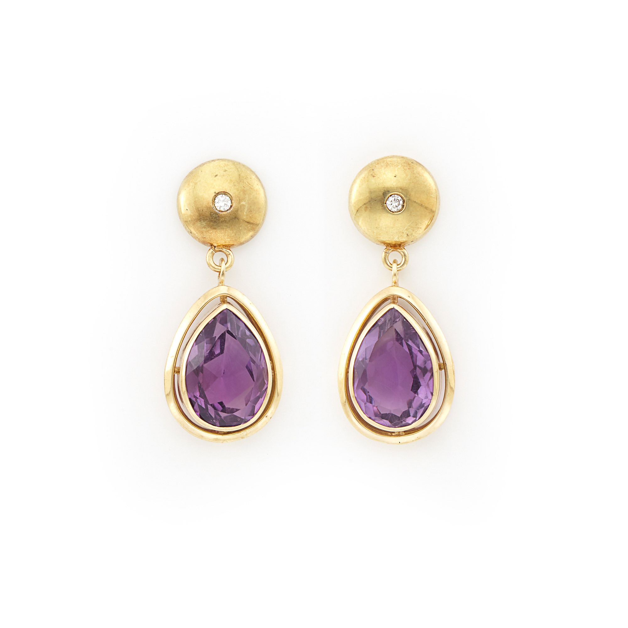 Lot image - Pair of Gold, Amethyst and Diamond Earrings