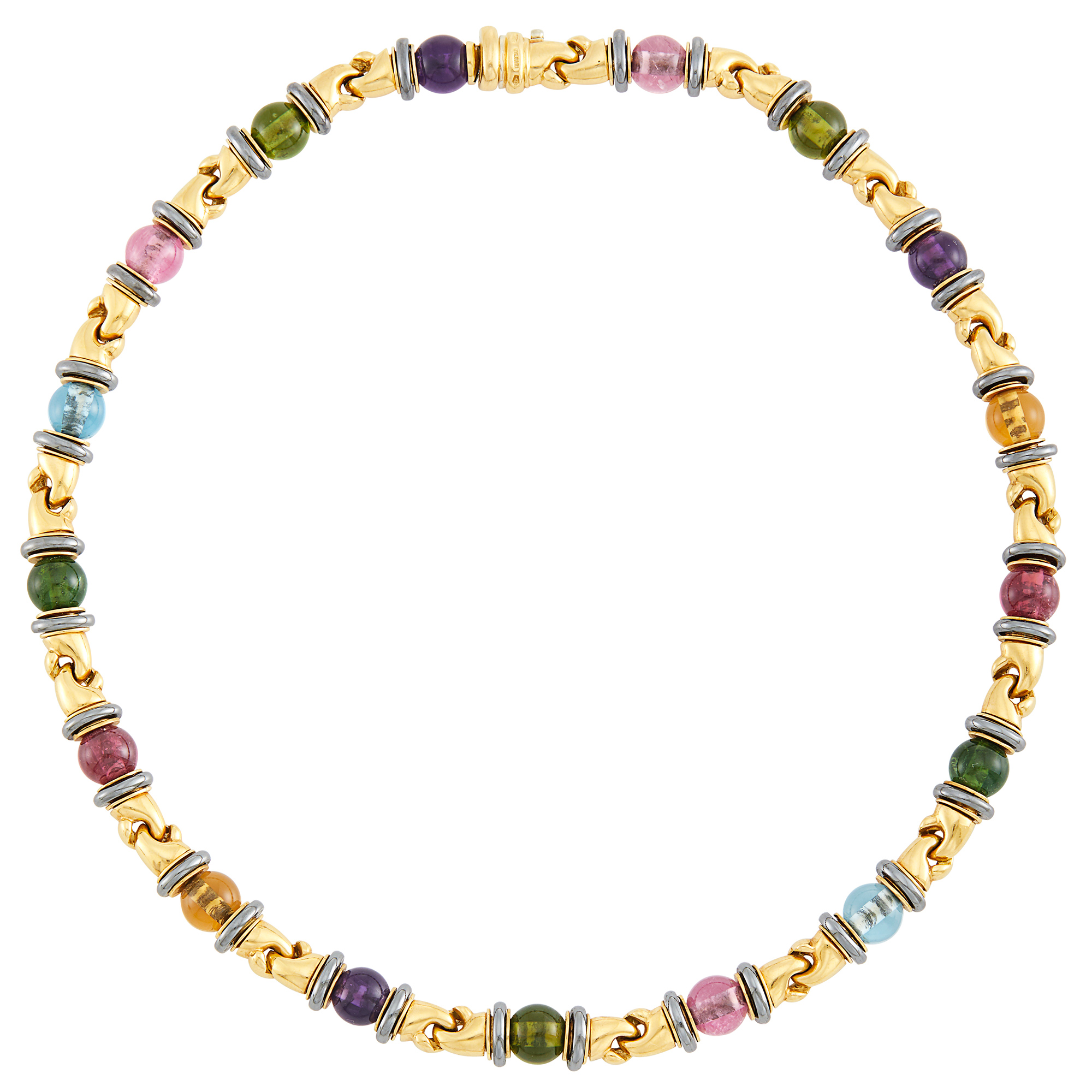 Lot image - Gold, Colored Stone Bead and Hematite Necklace, Bulgari