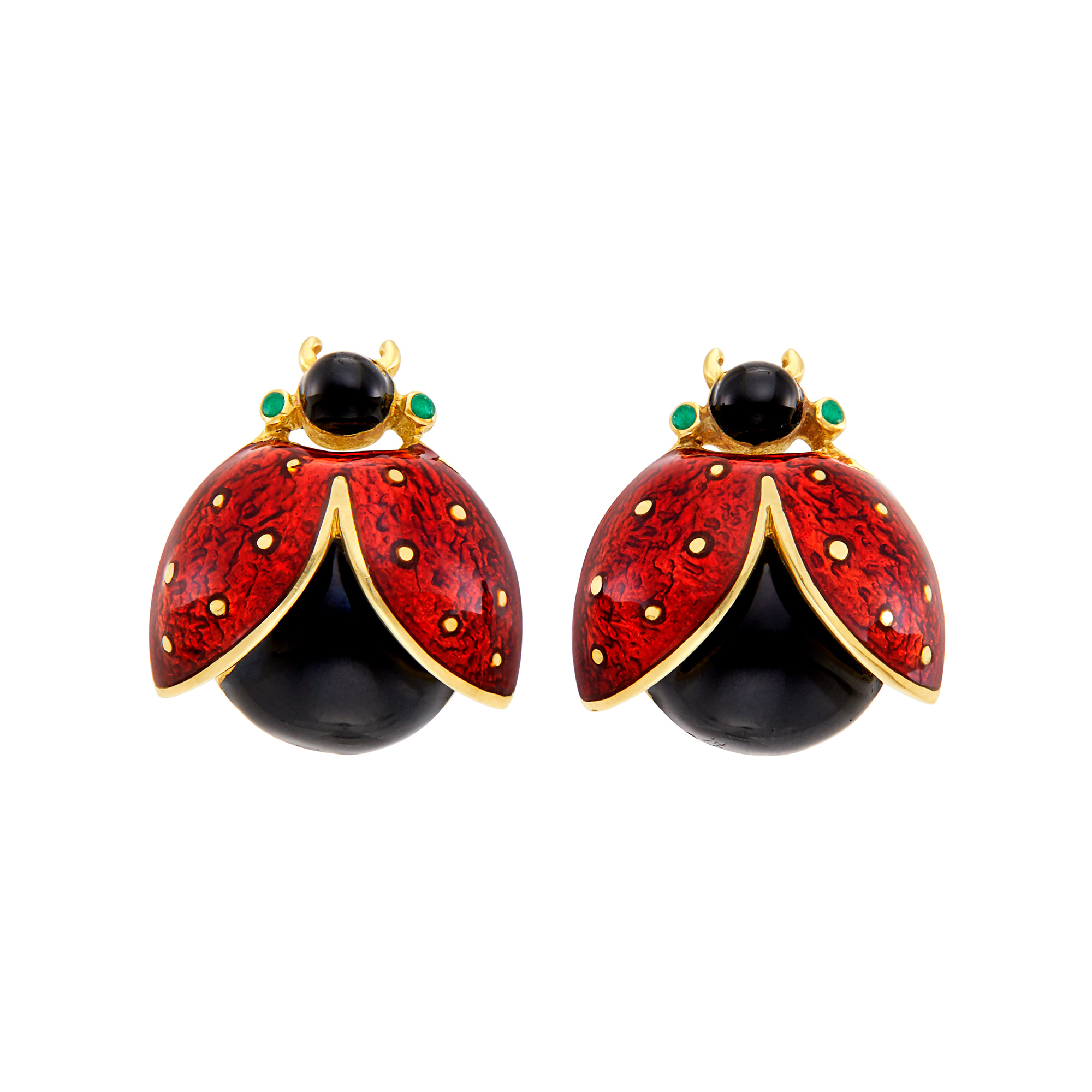 Lot image - Pair of Gold and Enamel Lady Bug Cufflinks, David Webb